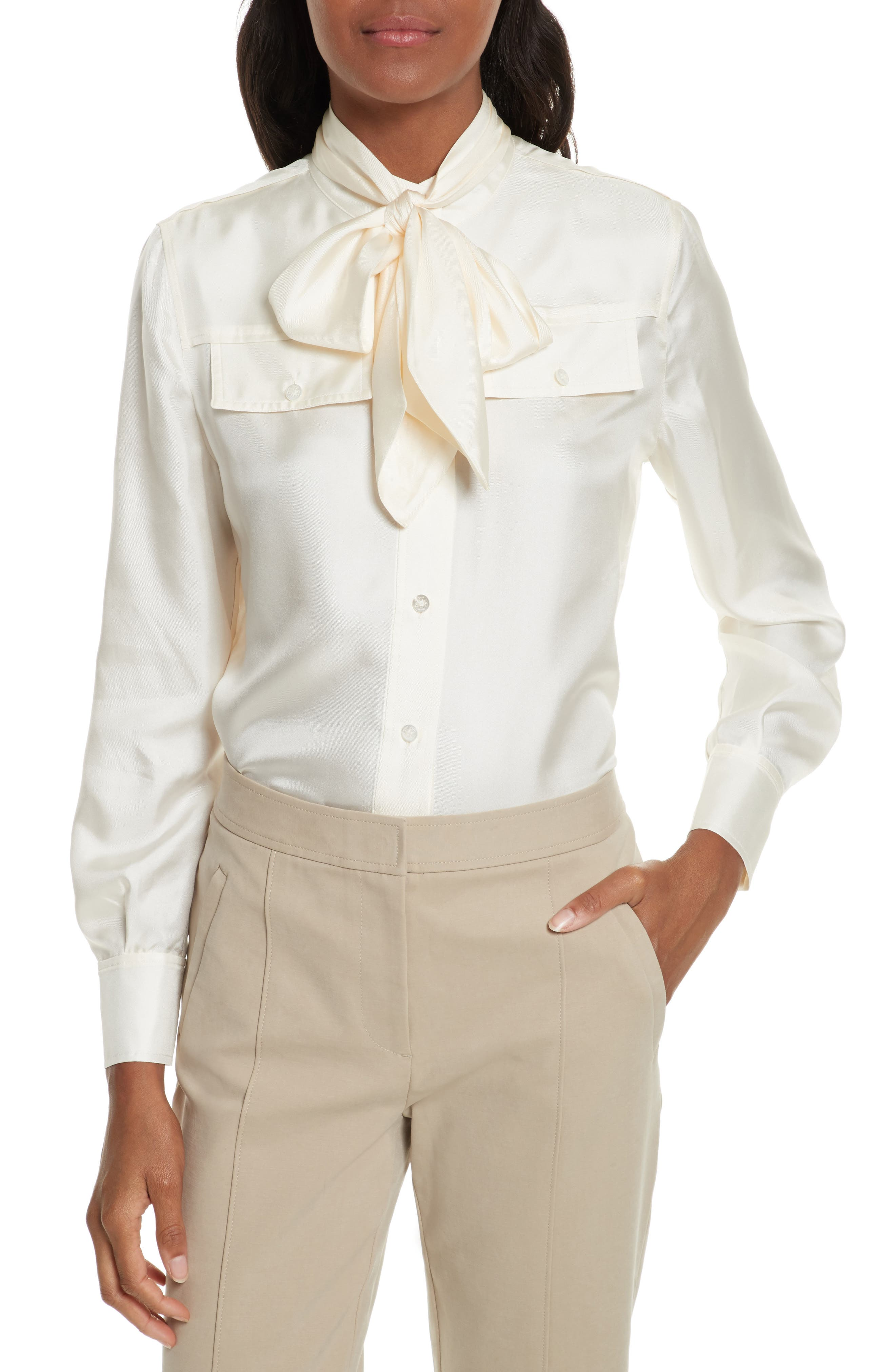 TORY BURCH Holly Tie Neck Silk Blouse, Main, color, 904