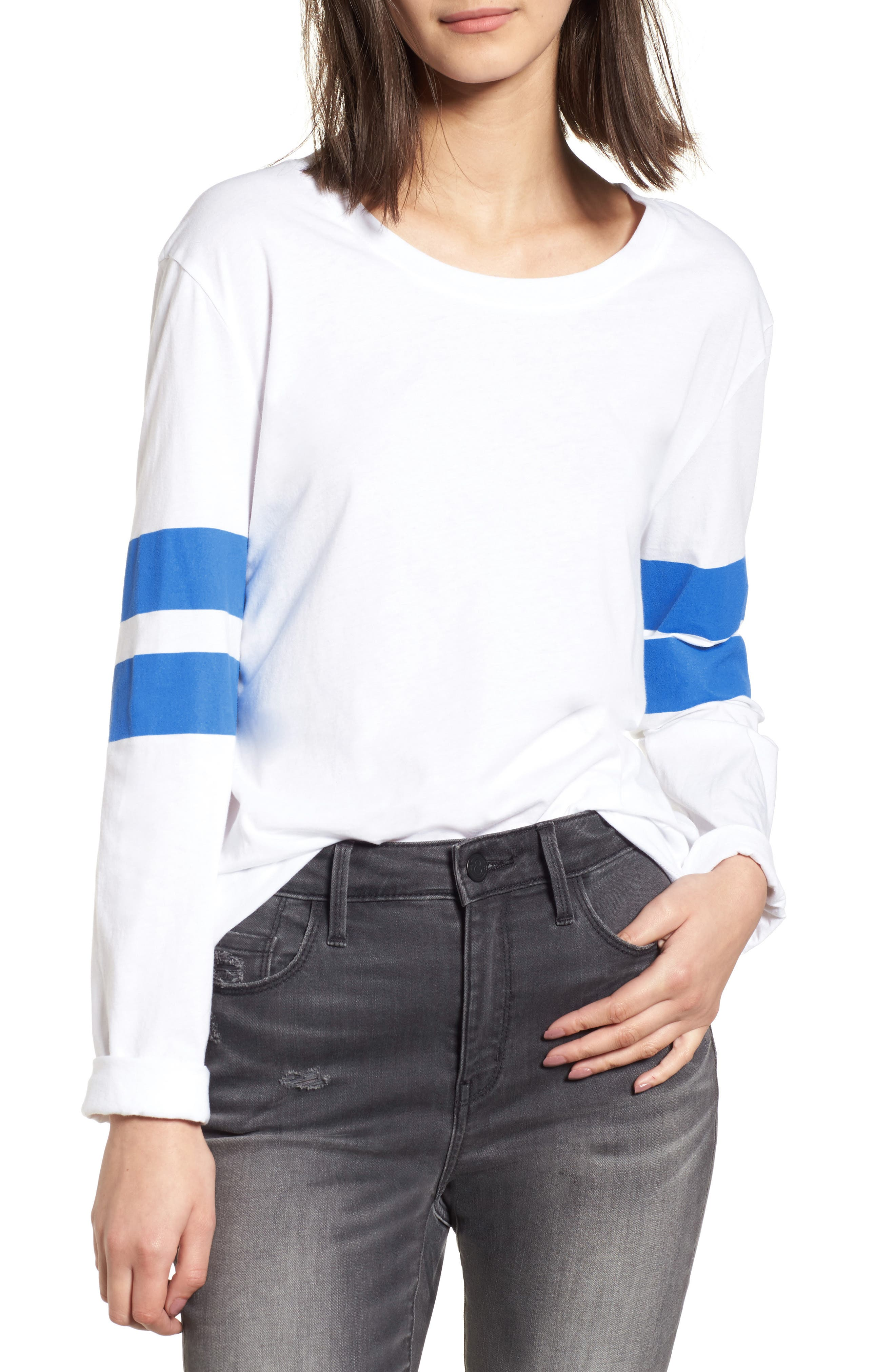 Varsity Stripe Cotton Tee,                             Main thumbnail 7, color,