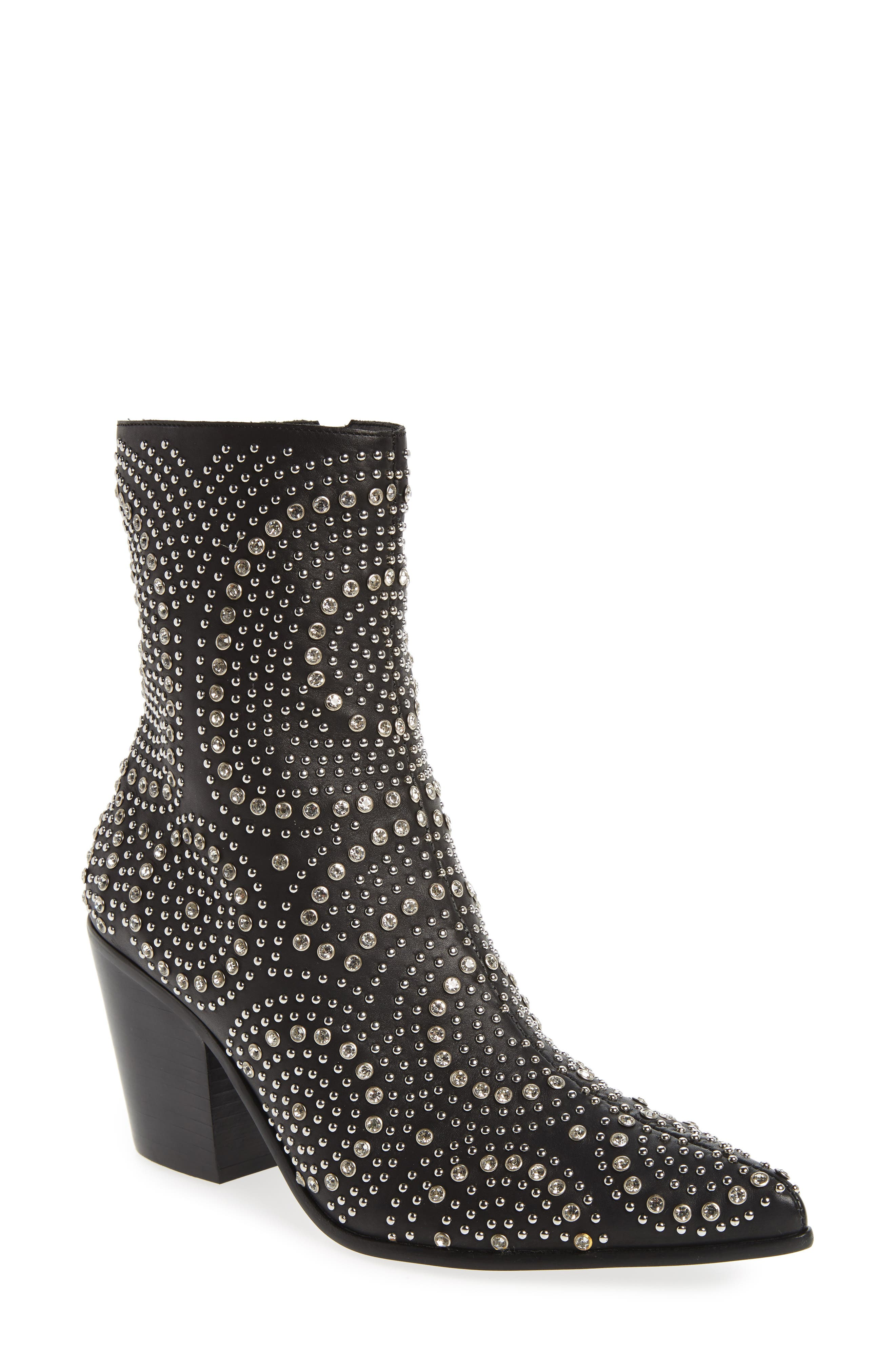 ACE-SJ Embellished Bootie,                             Main thumbnail 1, color,                             BLACK/ SILVER SUEDE