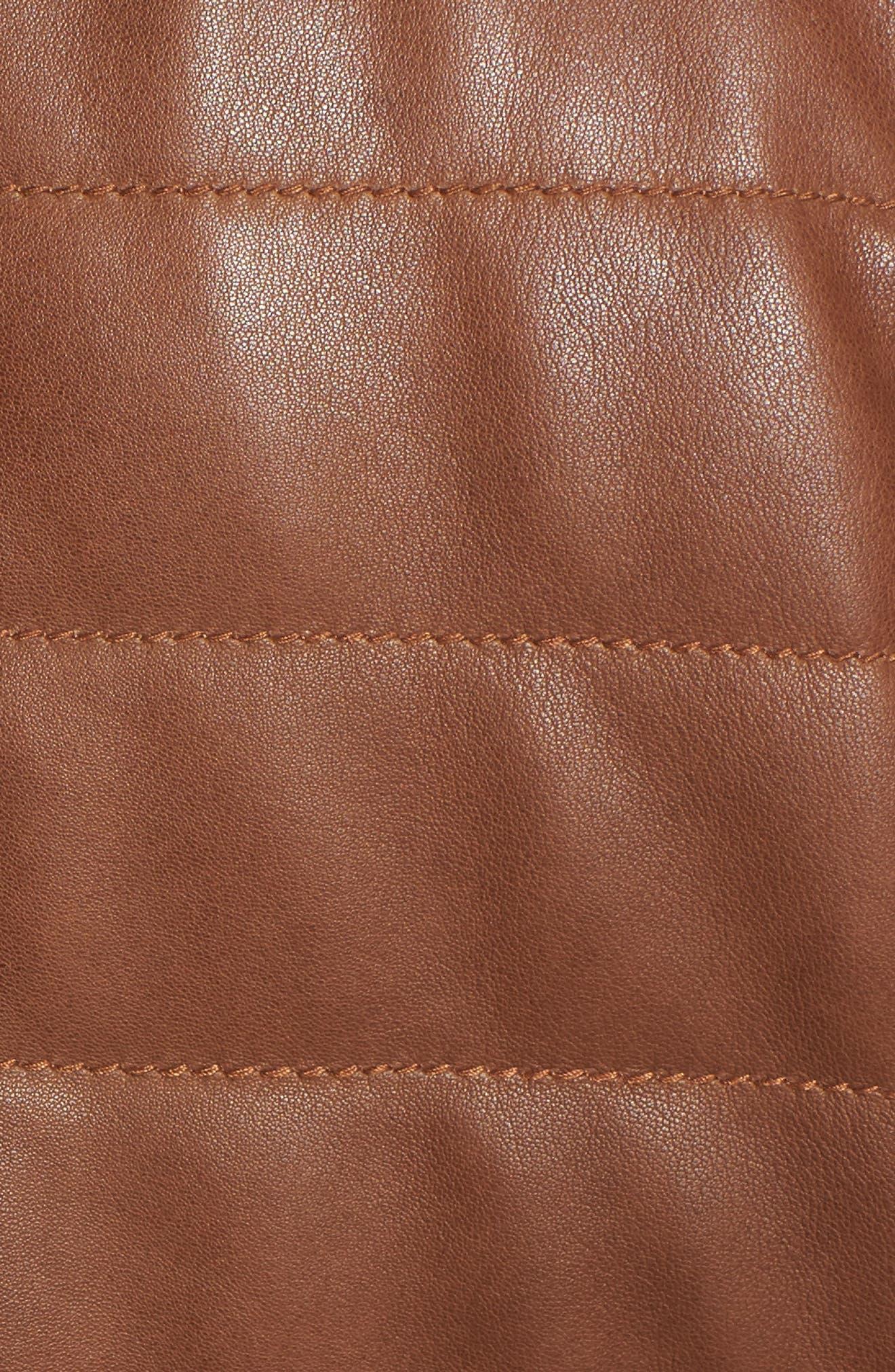 Snowside Leather Bomber Jacket,                             Alternate thumbnail 6, color,                             200