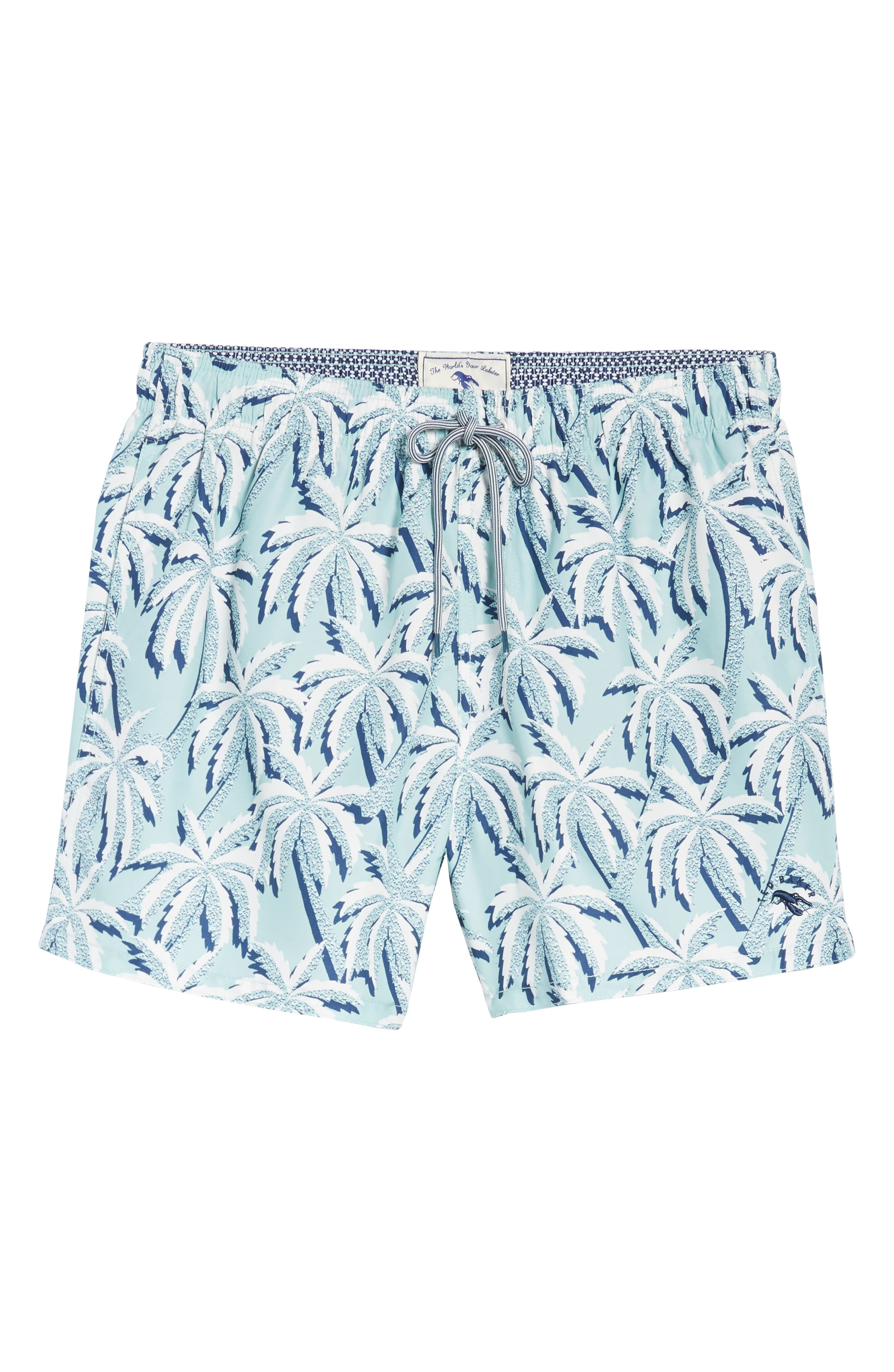 Hoppah Palm Print Swim Shorts,                             Alternate thumbnail 6, color,                             330