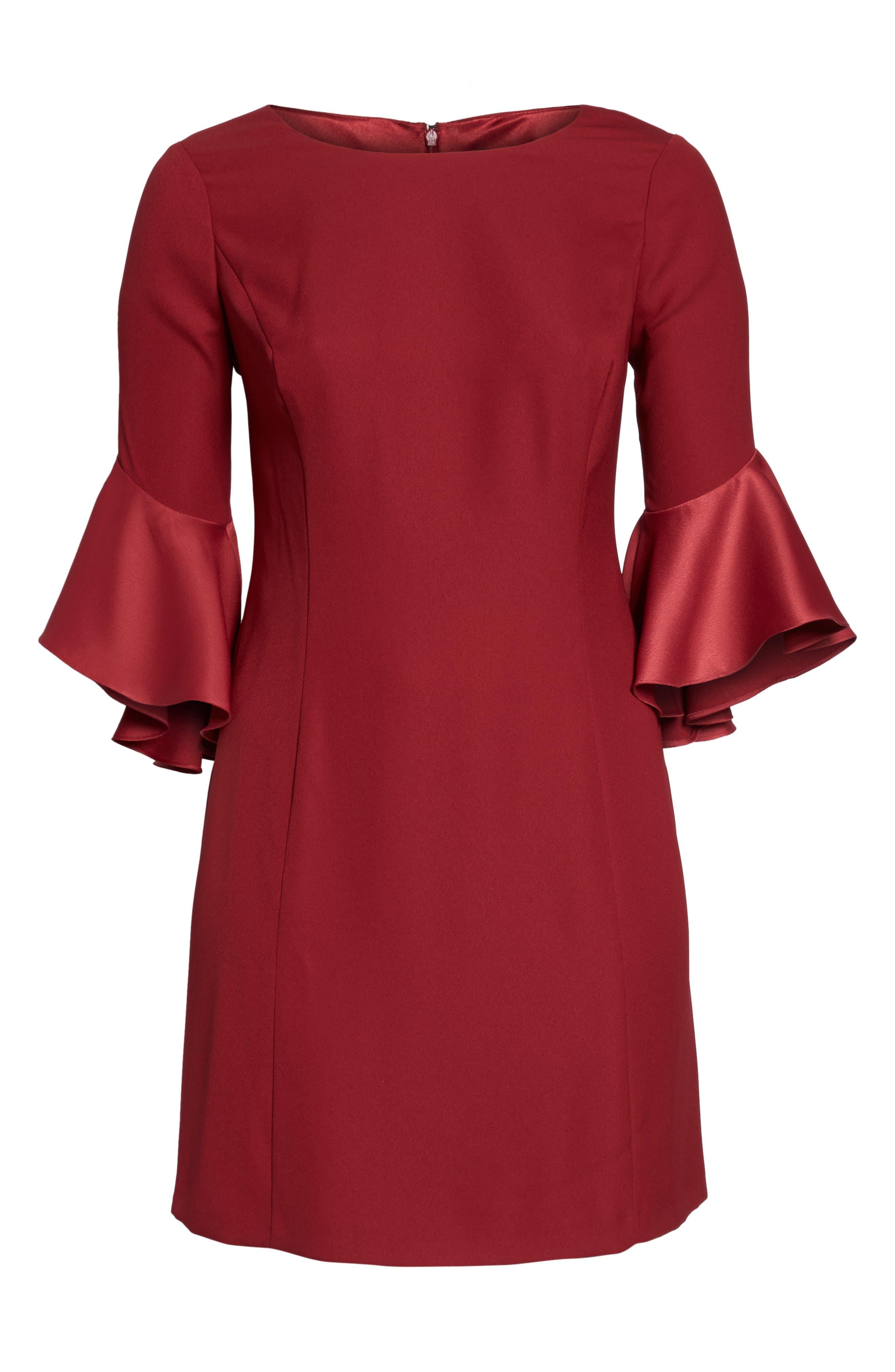 Bell Sleeve A-Line Dress,                             Alternate thumbnail 12, color,