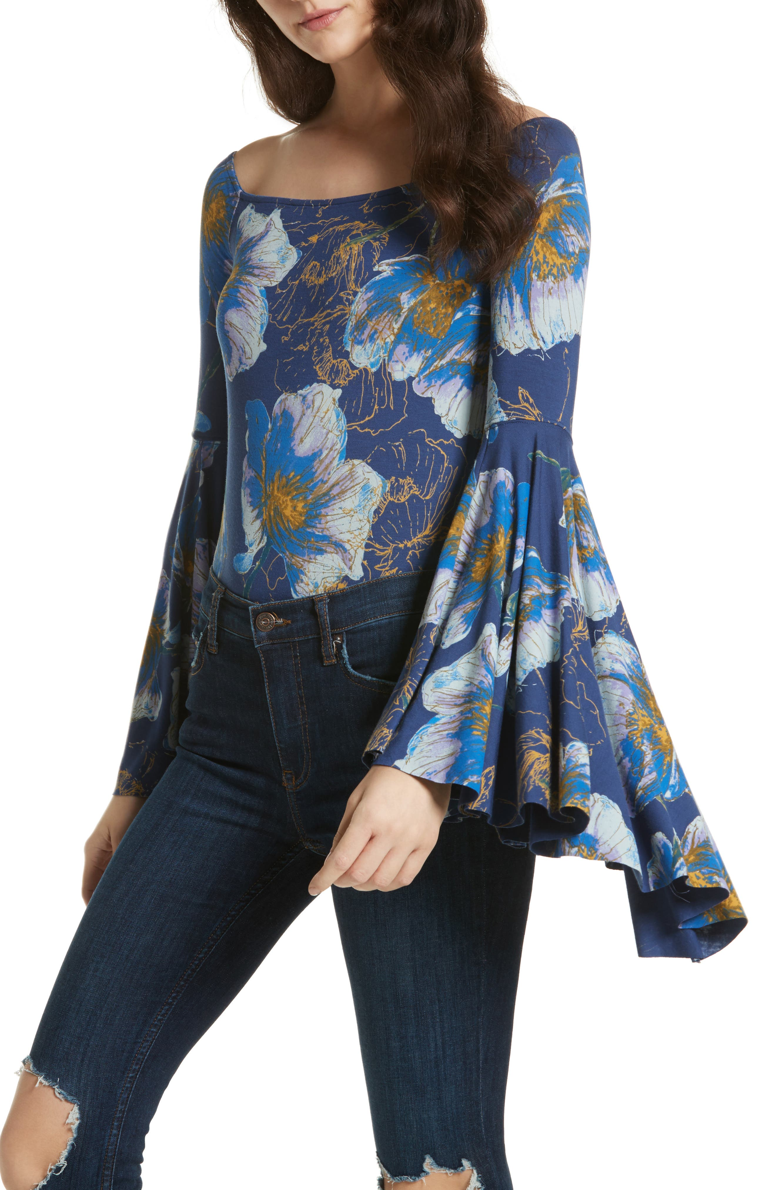Birds of Paradise Print Off the Shoulder Top,                             Main thumbnail 1, color,