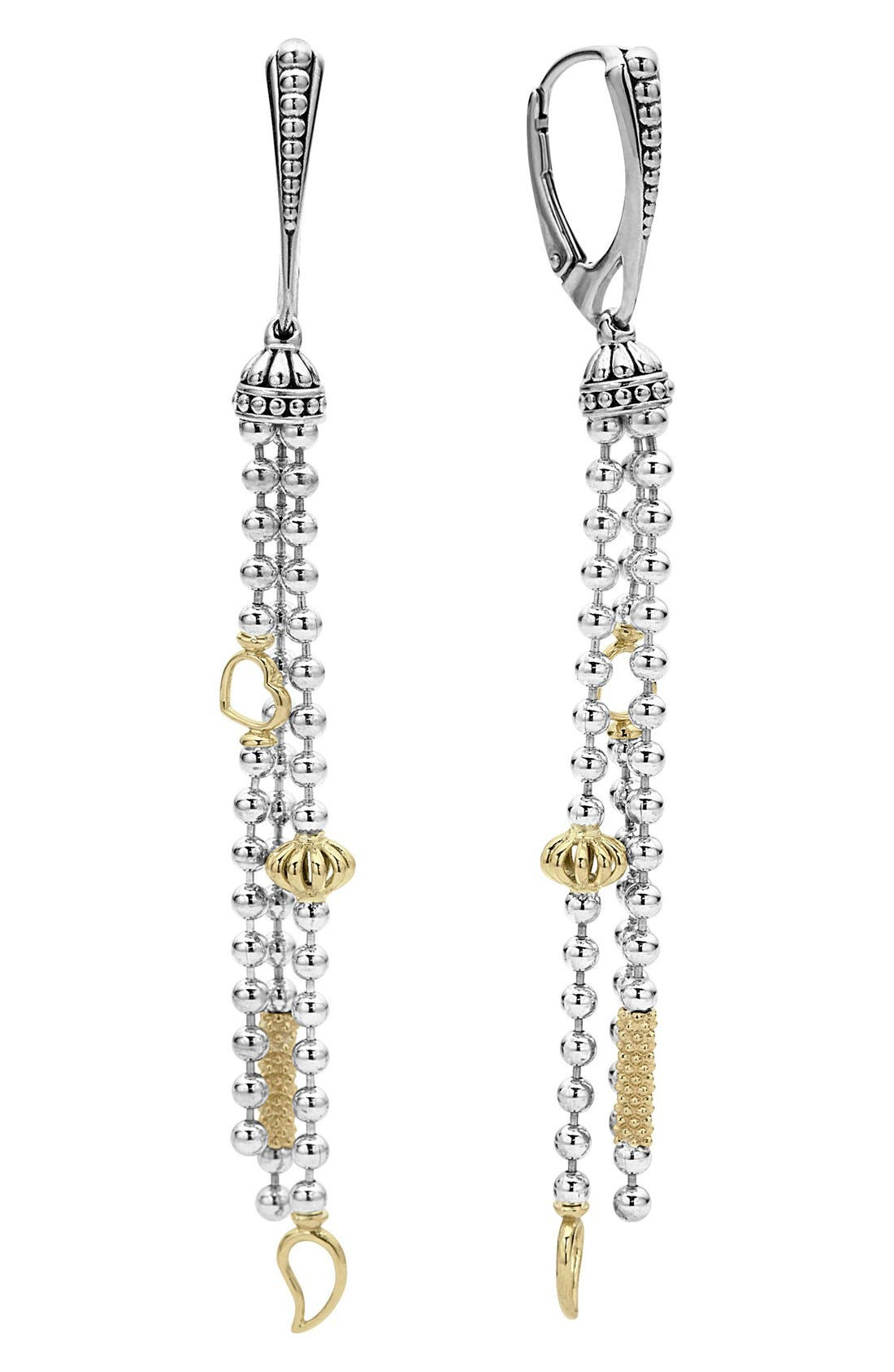 'Caviar Icon' Linear Drop Earrings,                             Main thumbnail 1, color,                             SILVER/ GOLD