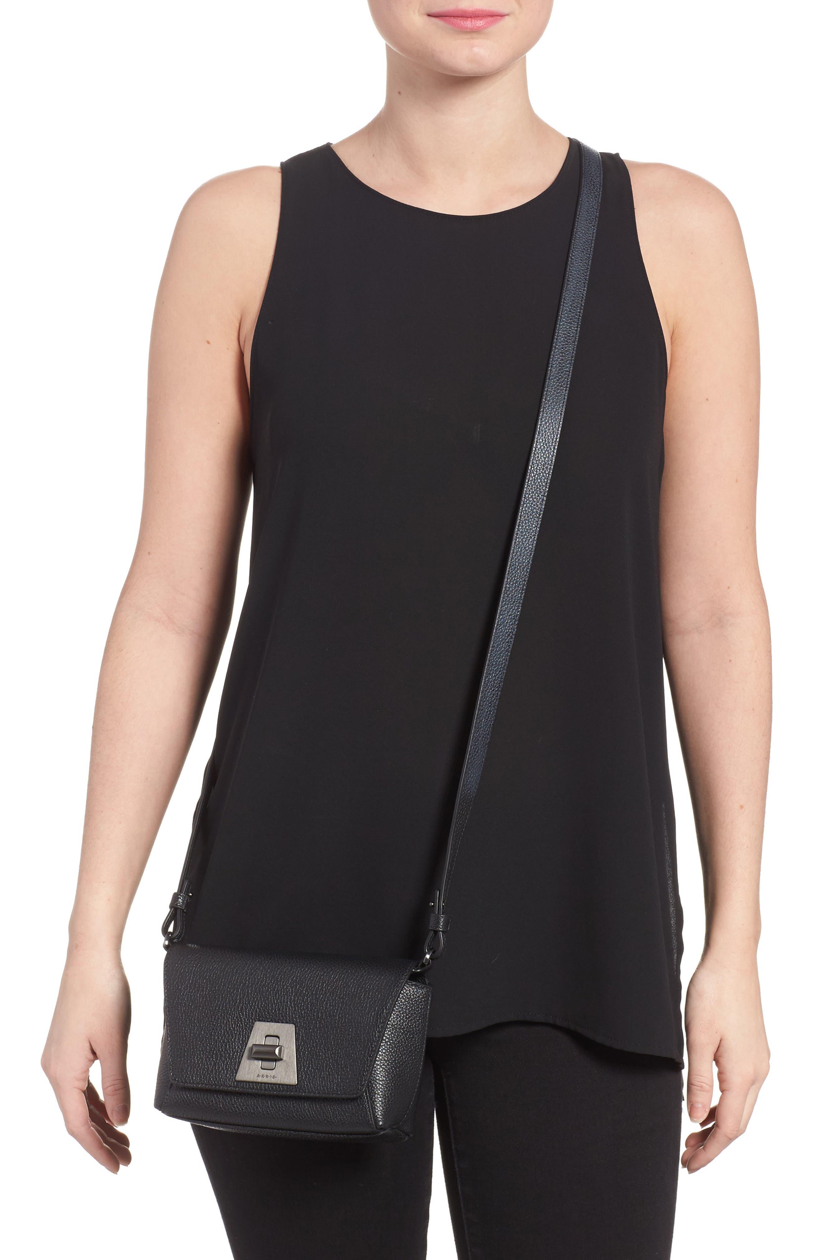 Little Anouk Leather Crossbody Bag,                             Alternate thumbnail 2, color,                             009 BLACK