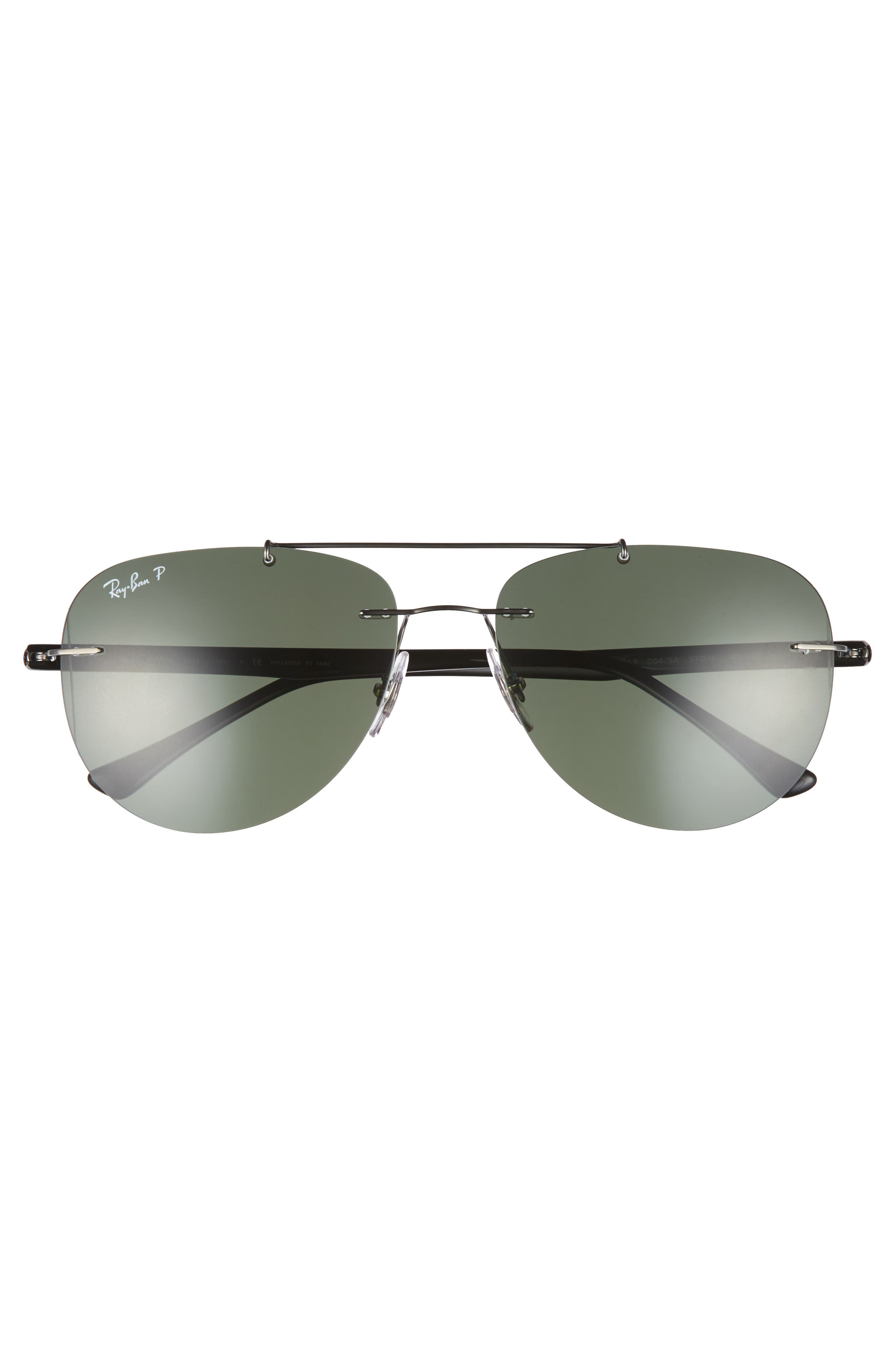 Phantos 57mm Polarized Rimless Aviator Sunglasses,                             Alternate thumbnail 3, color,                             020