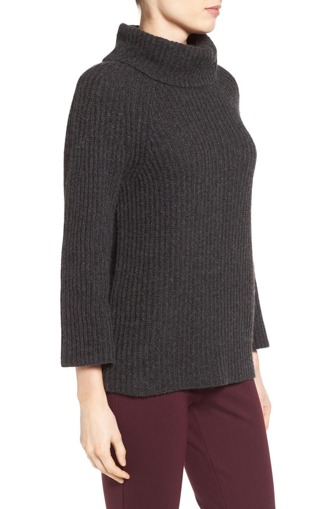 Ribbed Cashmere Turtleneck Sweater,                             Alternate thumbnail 4, color,                             021