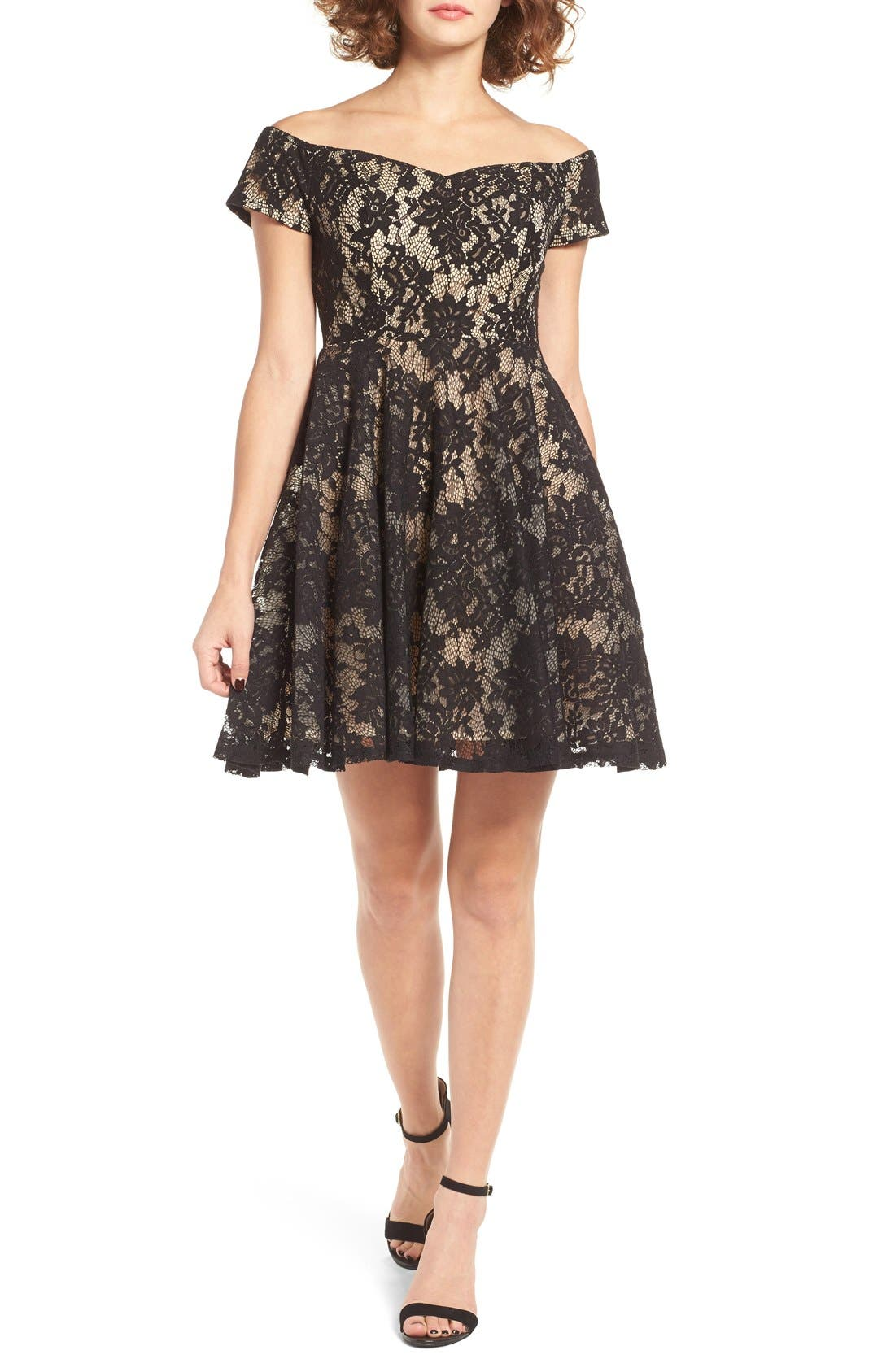 Lace Off the Shoulder Fit & Flare Dress,                             Main thumbnail 3, color,