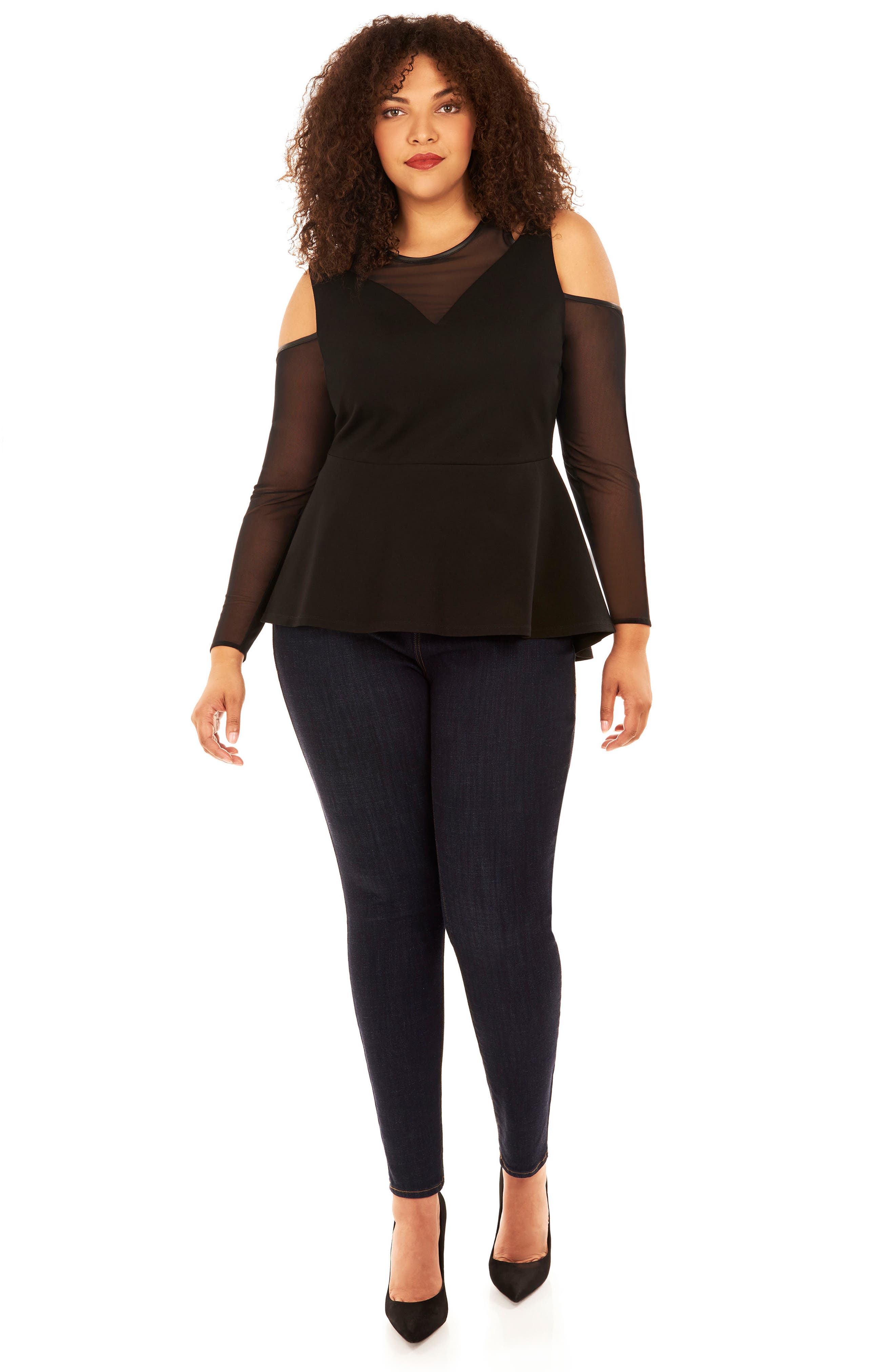 Ponte Knit & Mesh Peplum Top,                             Alternate thumbnail 4, color,                             001