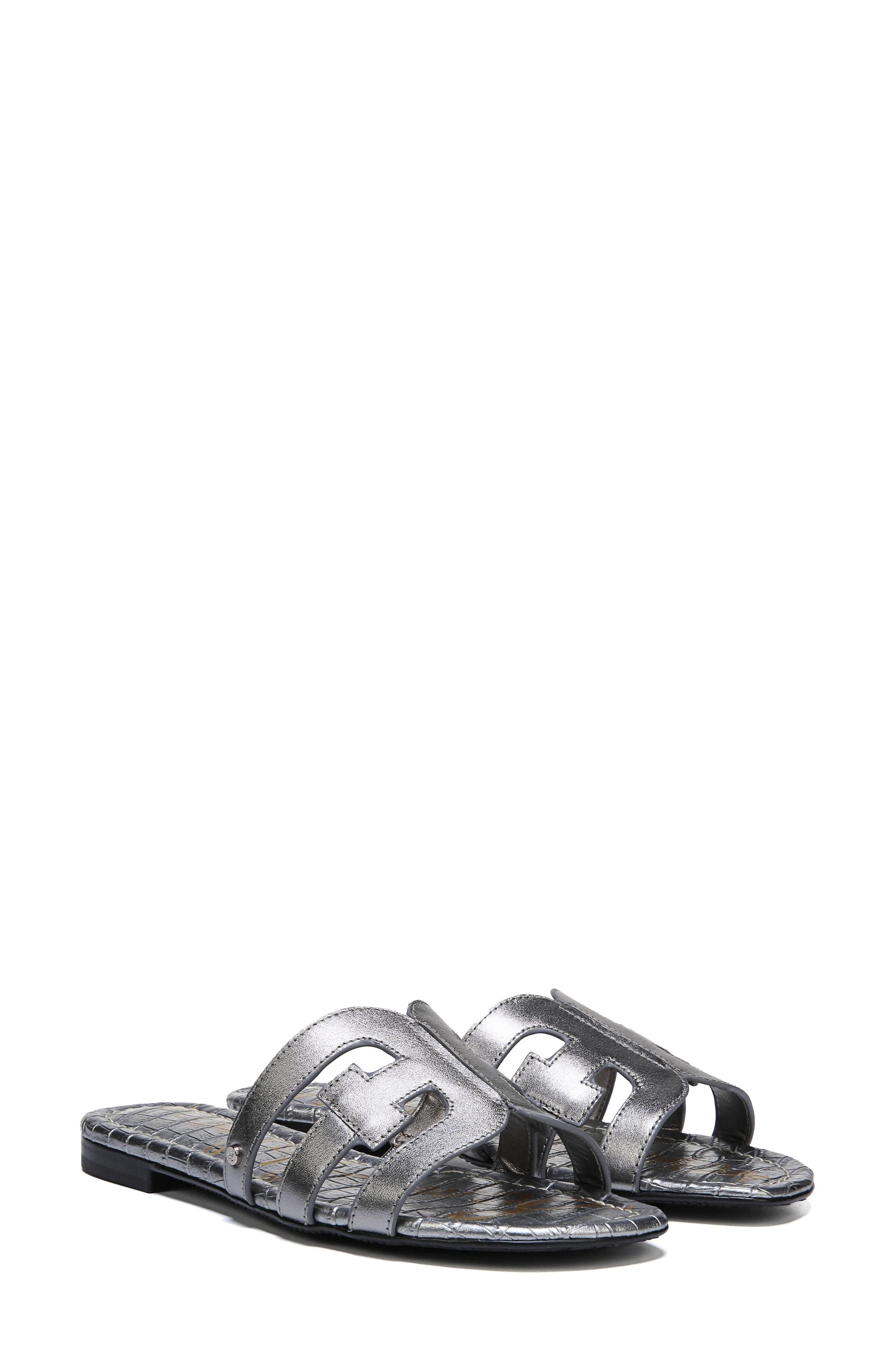 Bay Cutout Slide Sandal,                             Alternate thumbnail 8, color,                             PEWTER LEATHER