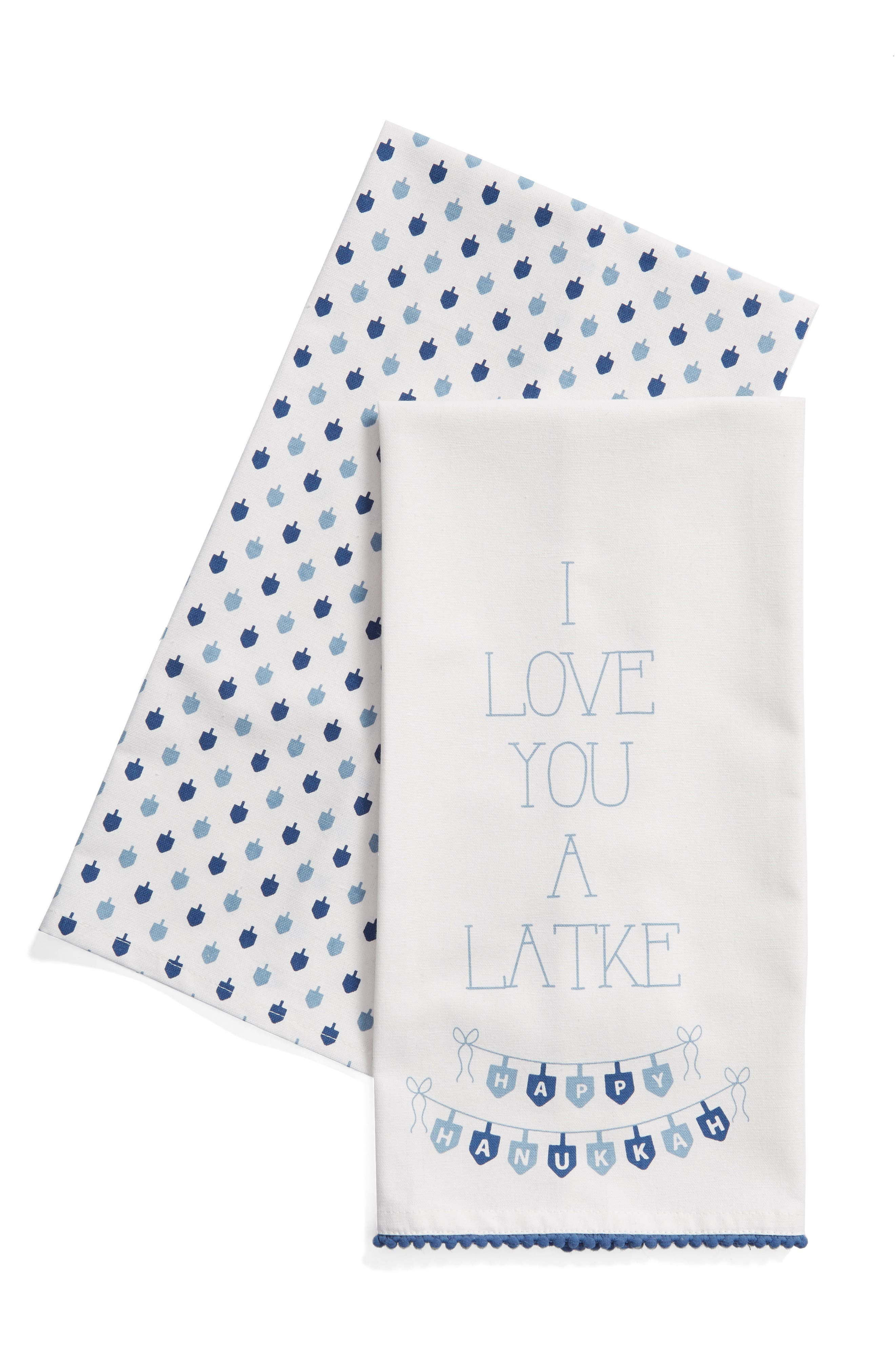 Love You a Latke Set of 2 Dishtowels,                             Main thumbnail 1, color,                             100