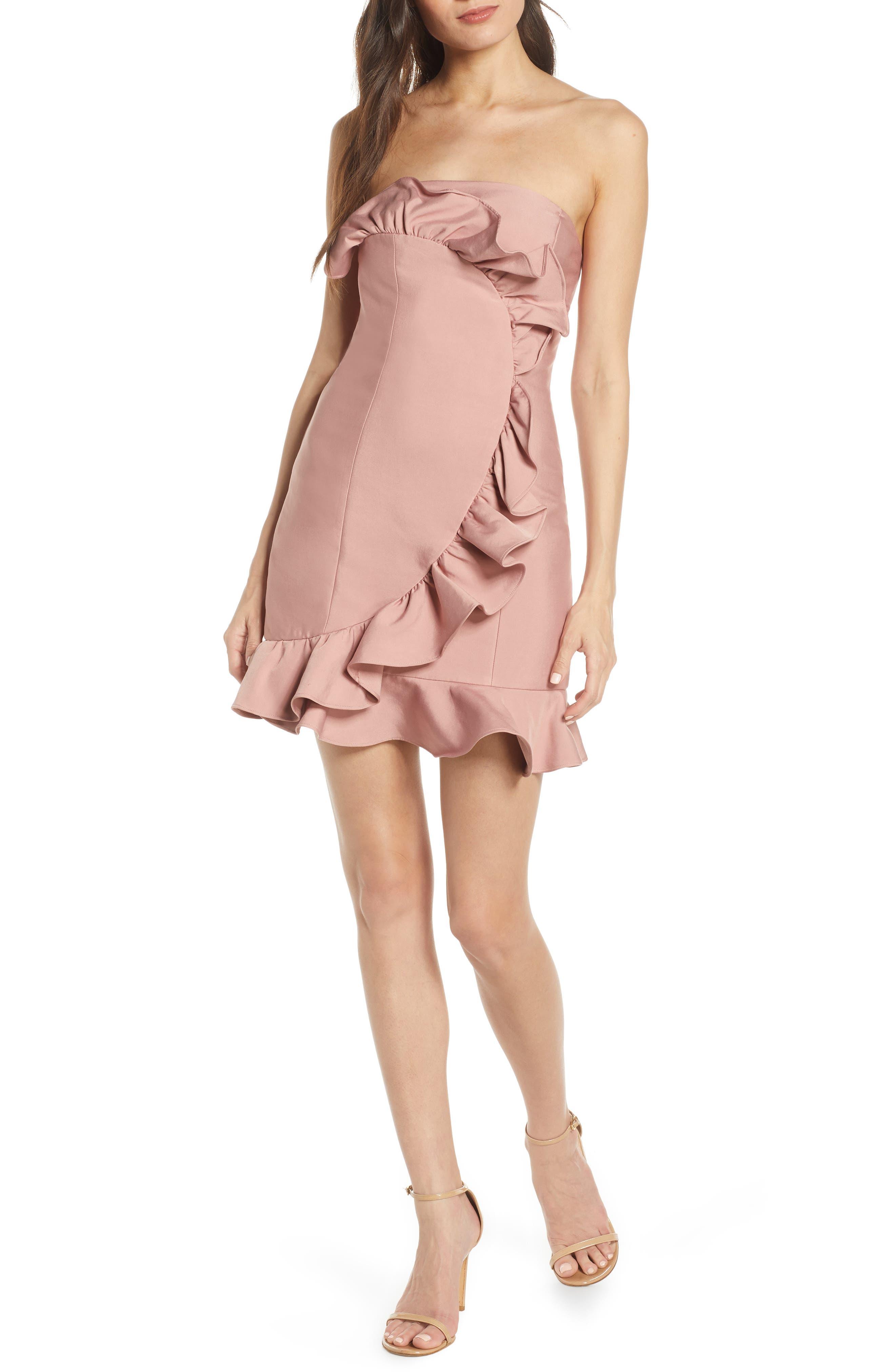Keepsake The Label Daybreak Ruffle Strapless Minidress, Pink