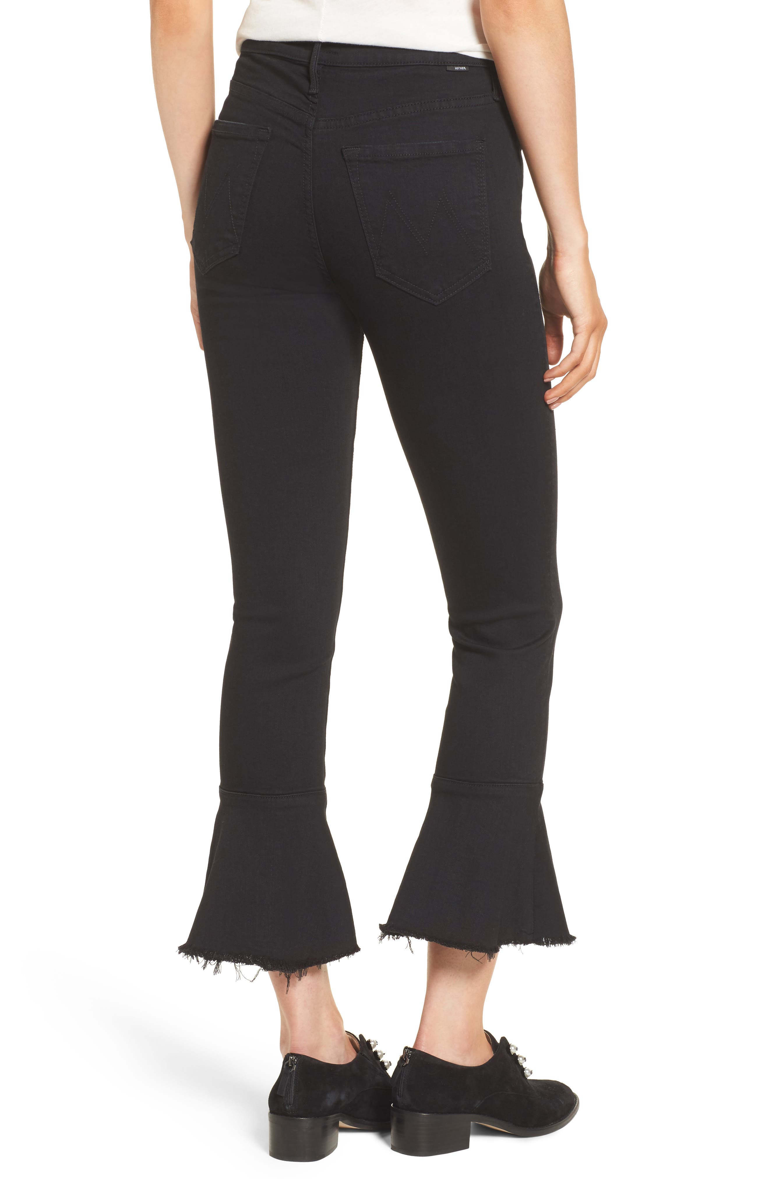 The Cha Cha Fray Flare Crop Jeans,                             Alternate thumbnail 2, color,                             001