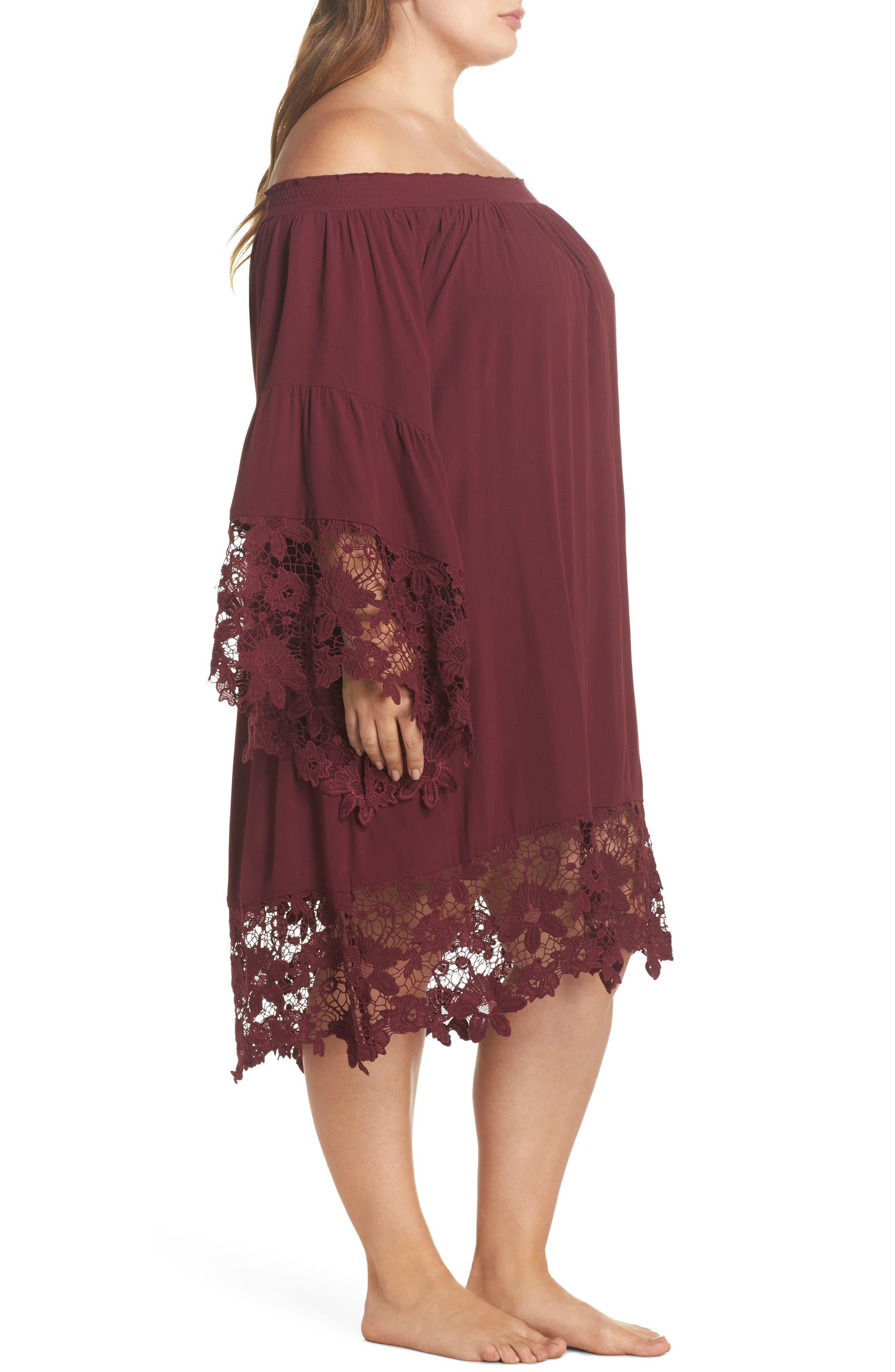 Jolie Lace Accent Cover-Up Dress,                             Alternate thumbnail 3, color,                             930