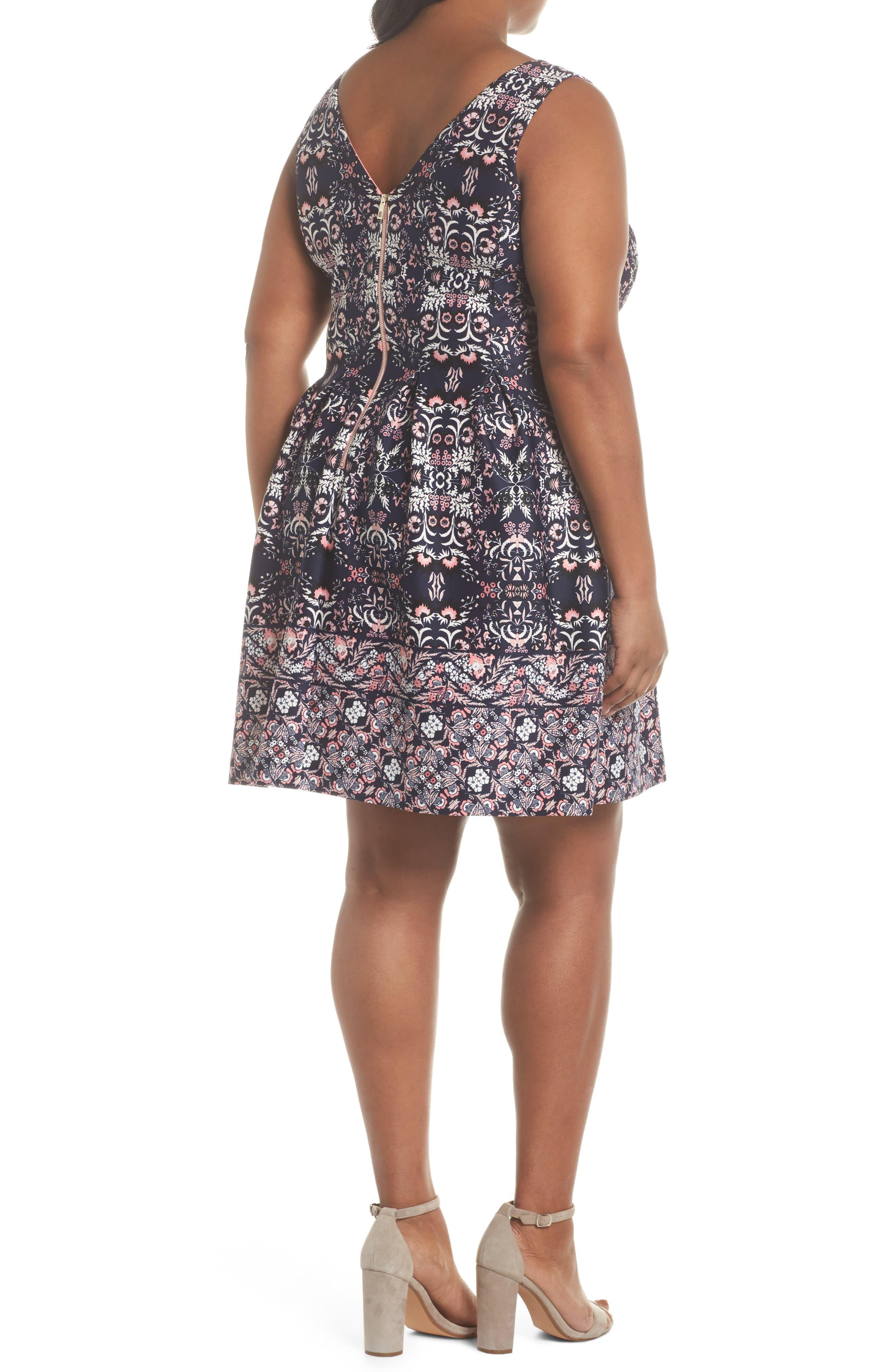 Scuba Fit & Flare Dress,                             Alternate thumbnail 2, color,                             470