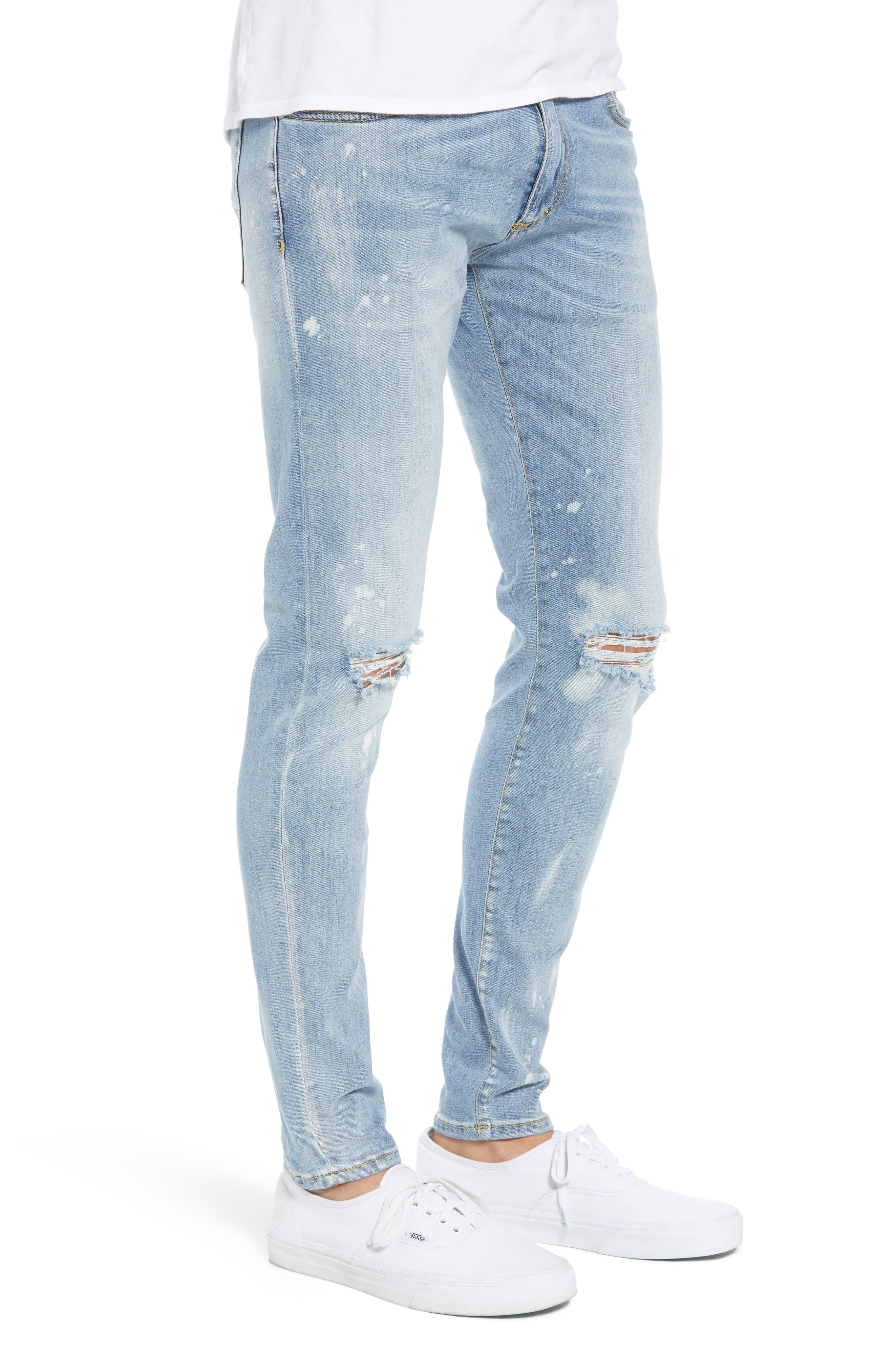 Destroyer Ripped Slim Fit Jeans,                             Alternate thumbnail 3, color,                             BLUE