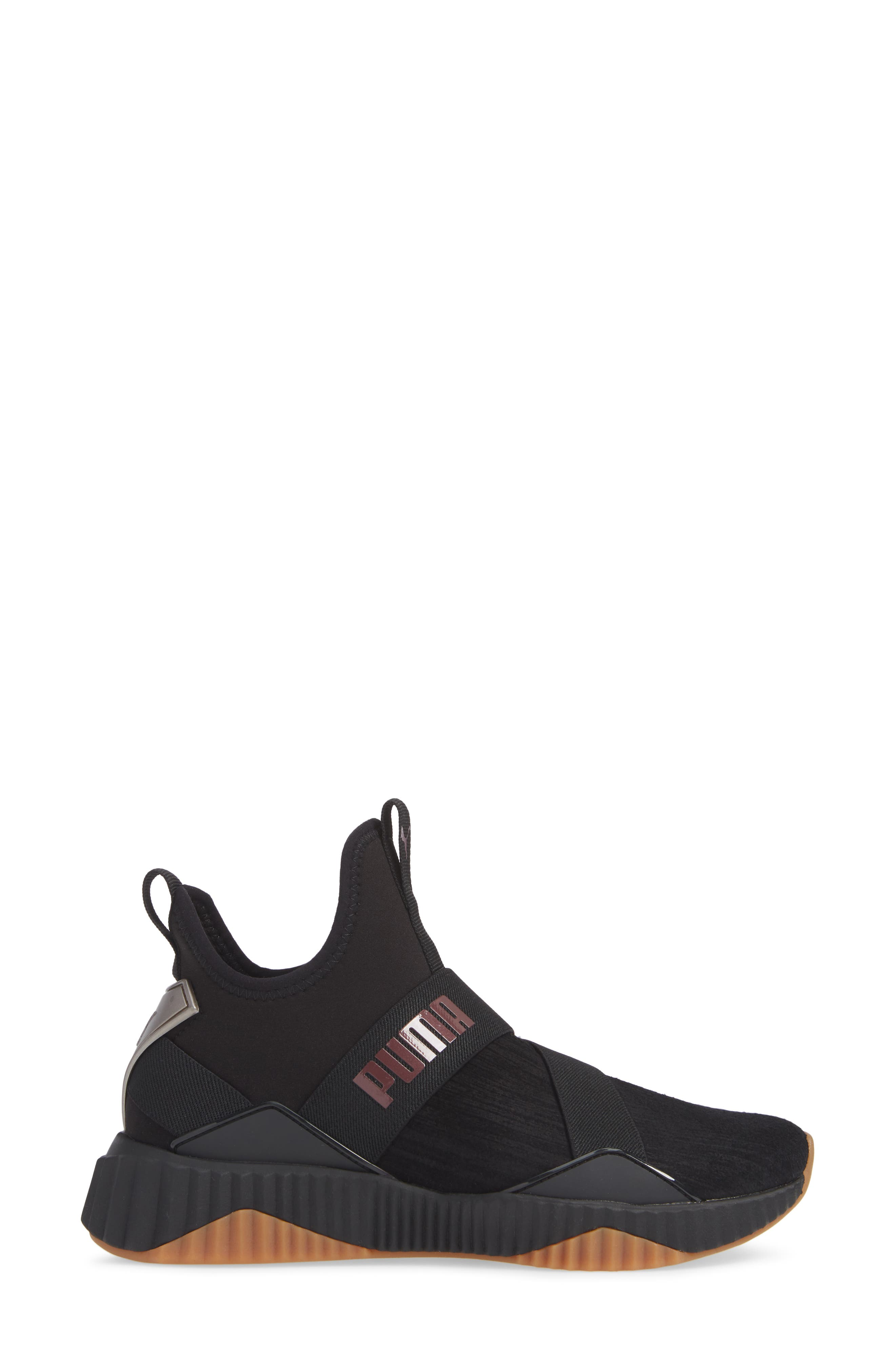 Defy Mid Luxe Sneaker,                             Alternate thumbnail 3, color,                             PUMA BLACK/ FIG