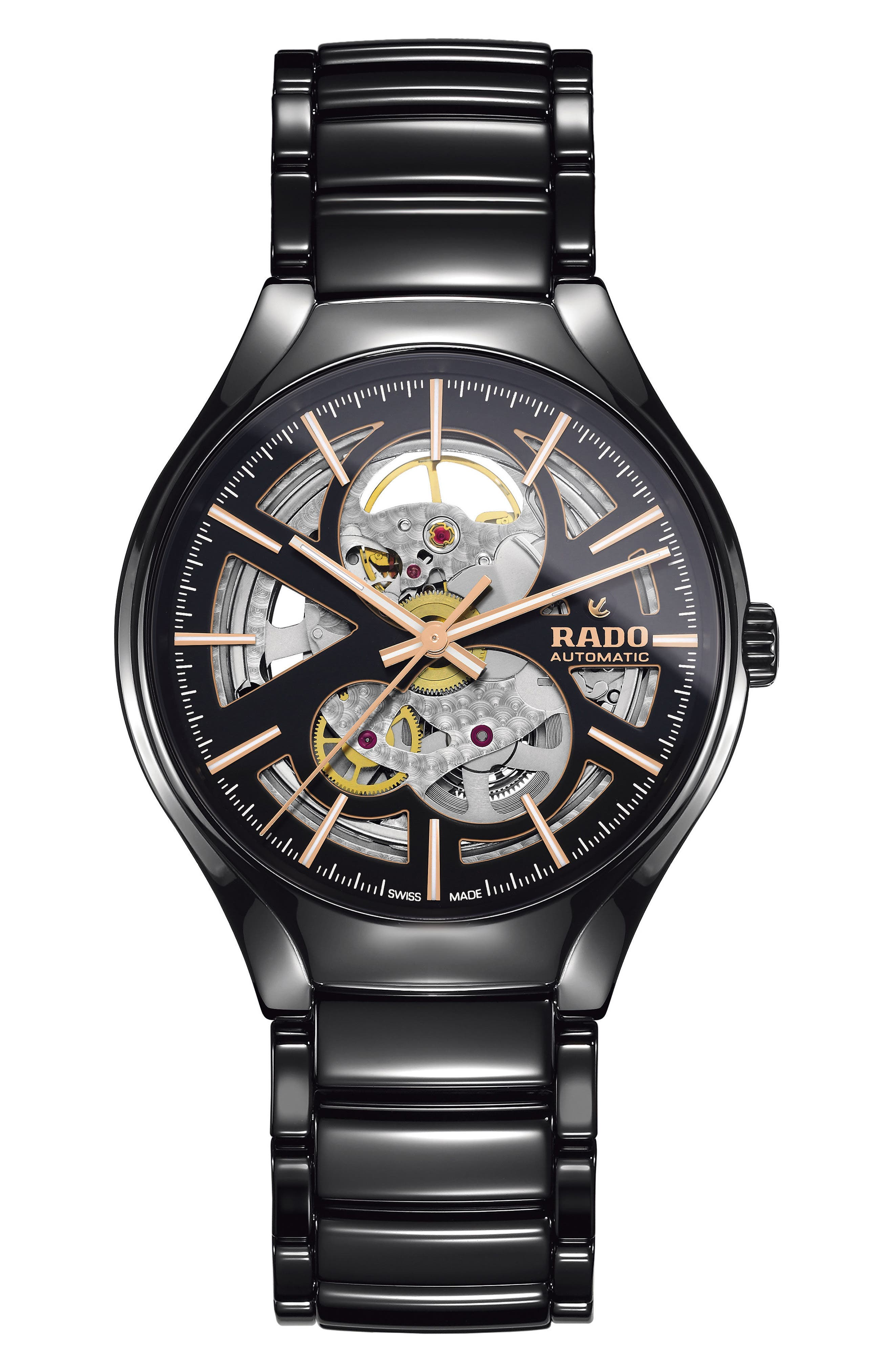 RADO,                             True Automatic Open Heart Ceramic Watch, 40mm,                             Main thumbnail 1, color,                             BLACK