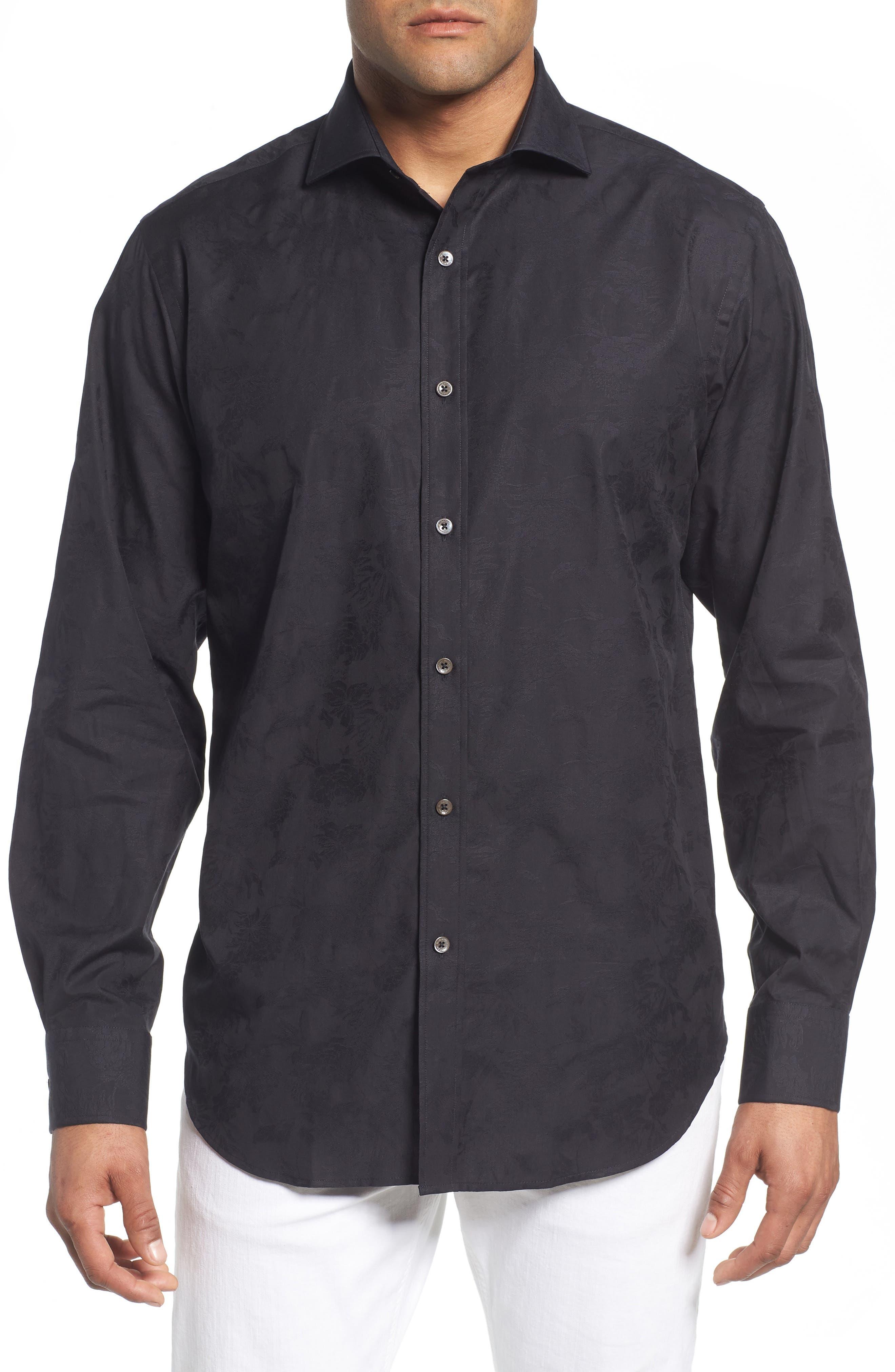 Classic Fit Tonal Jacquard Sport Shirt,                             Main thumbnail 1, color,                             BLACK