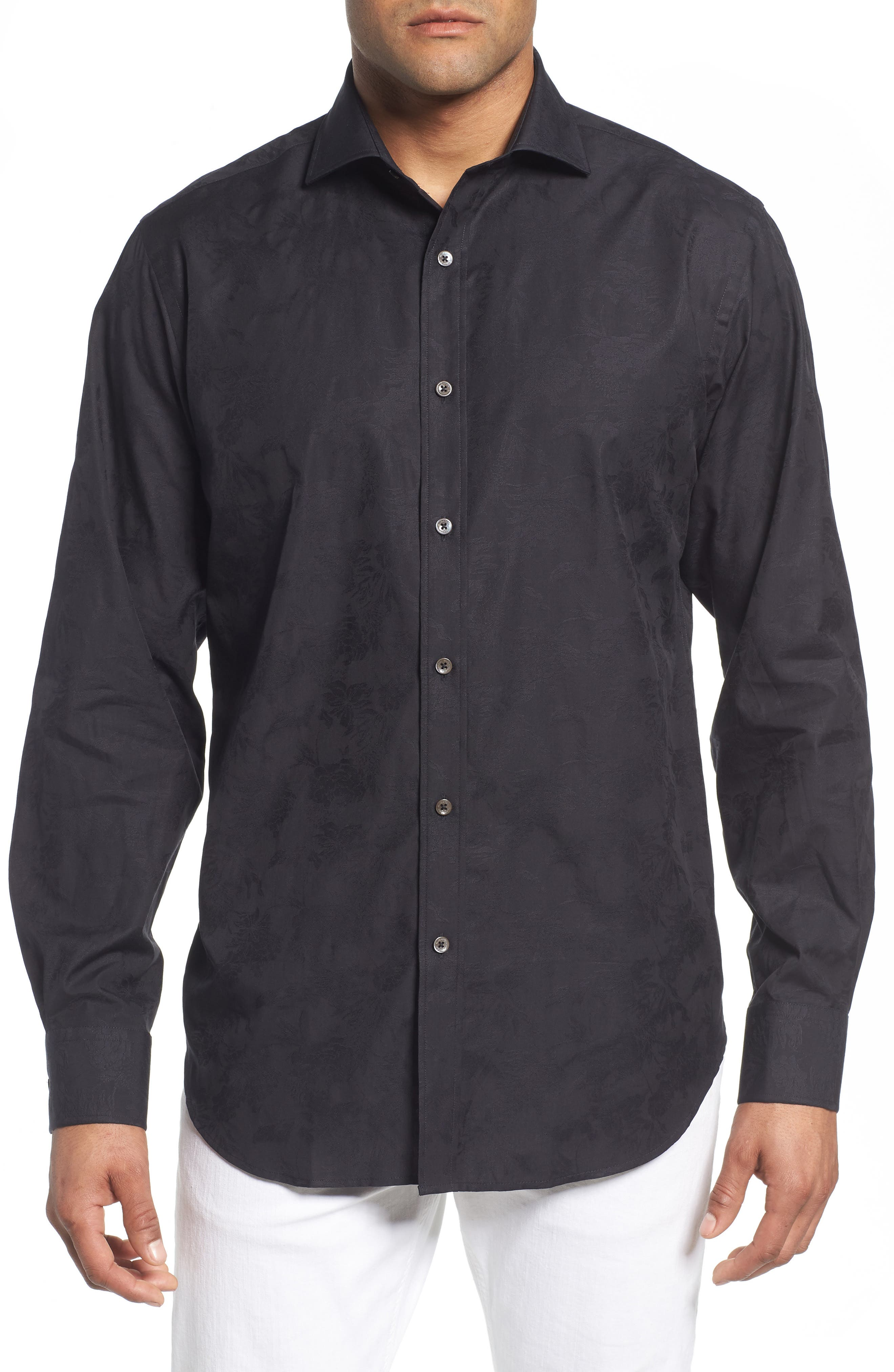 Classic Fit Tonal Jacquard Sport Shirt,                         Main,                         color, BLACK