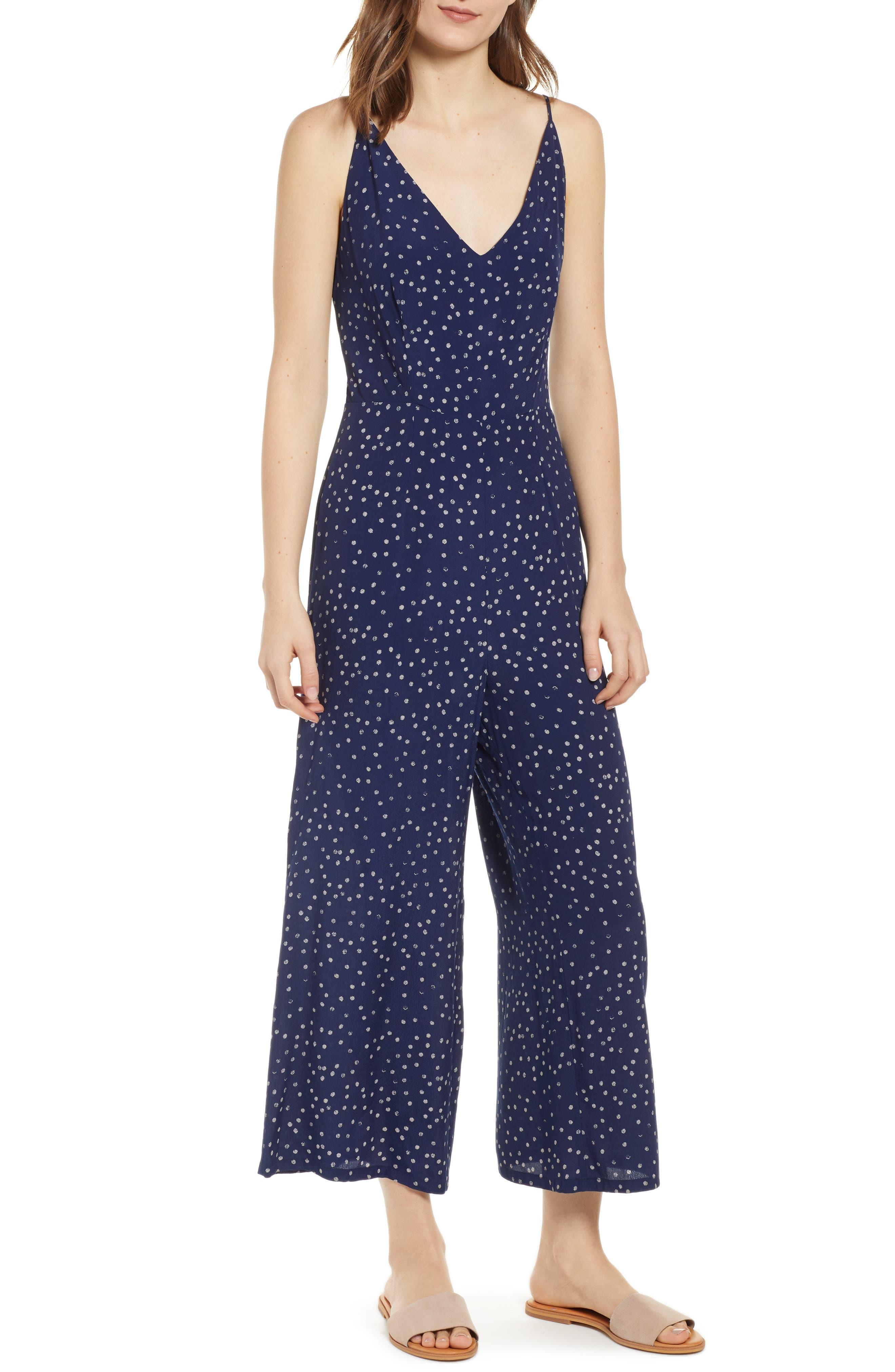 Gabrielle Wide Leg Crop Jumpsuit, Main, color, NAVY SPECKLED DOT