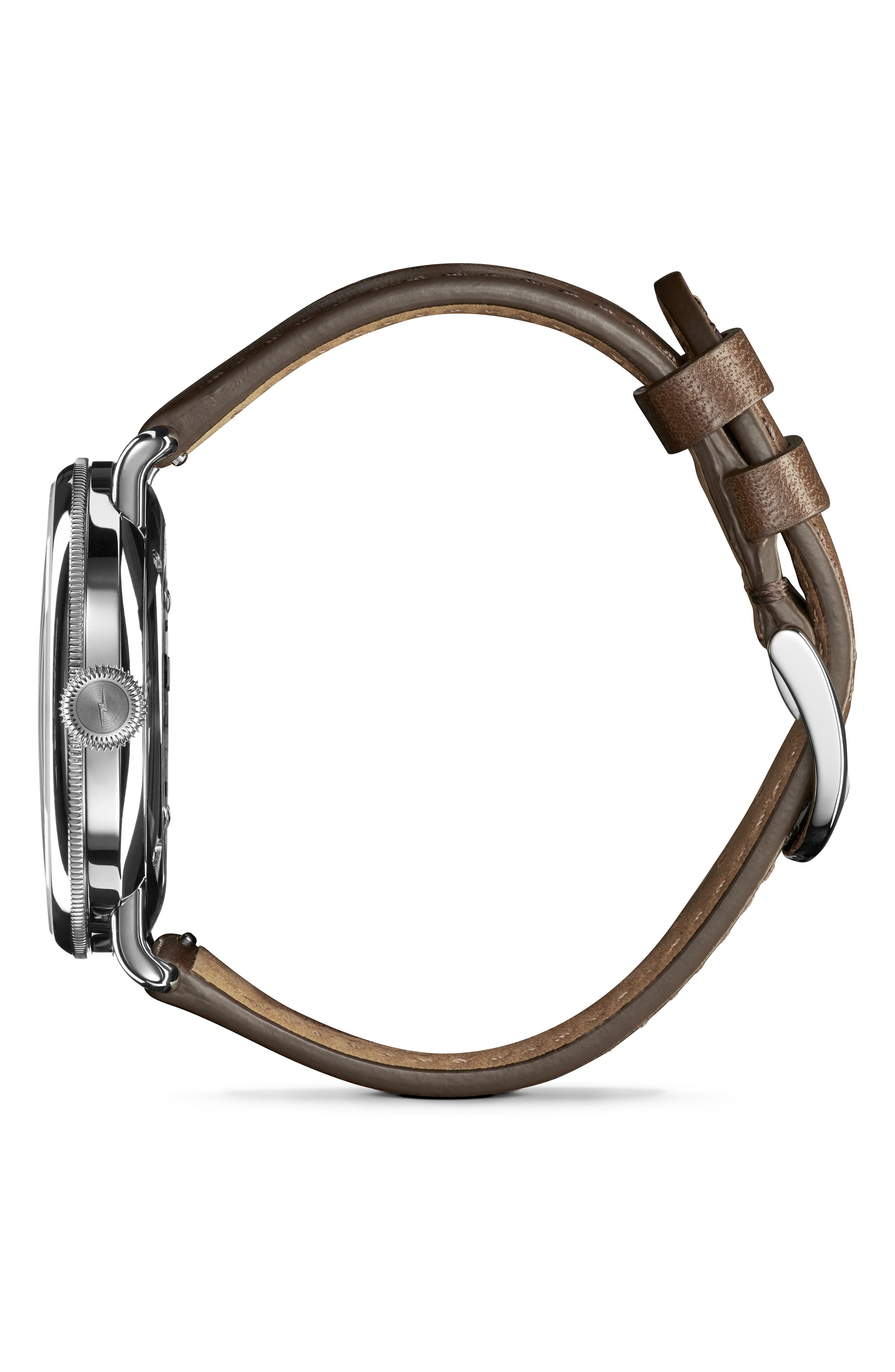 The Canfield Leather Strap Watch, 45mm,                             Alternate thumbnail 3, color,                             DK BROWN/ALBSTER WHT/SILV