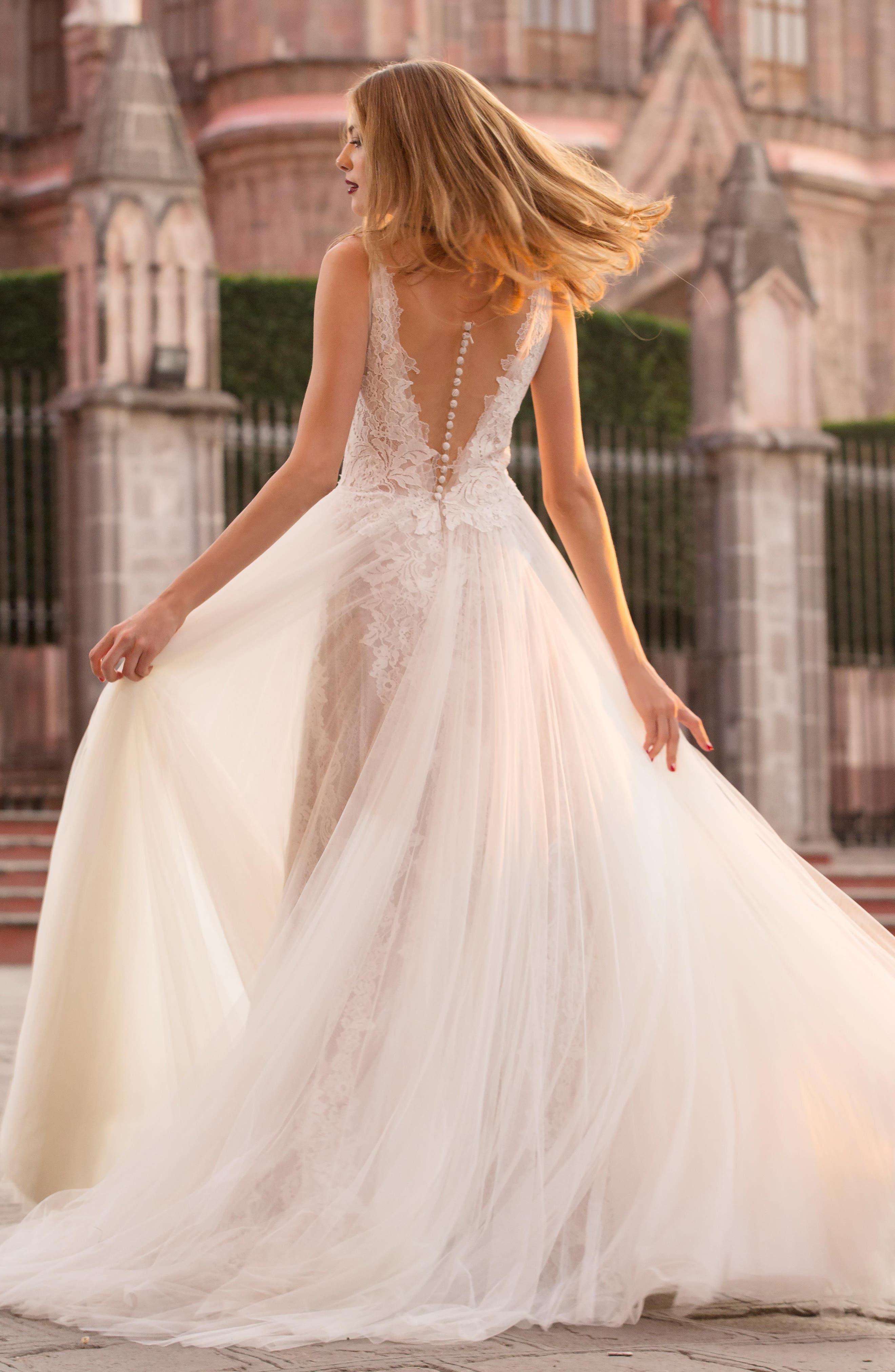 Ludmila Silk Lace & Tulle A-Line Gown,                             Alternate thumbnail 2, color,                             IVORY / SUNKISS