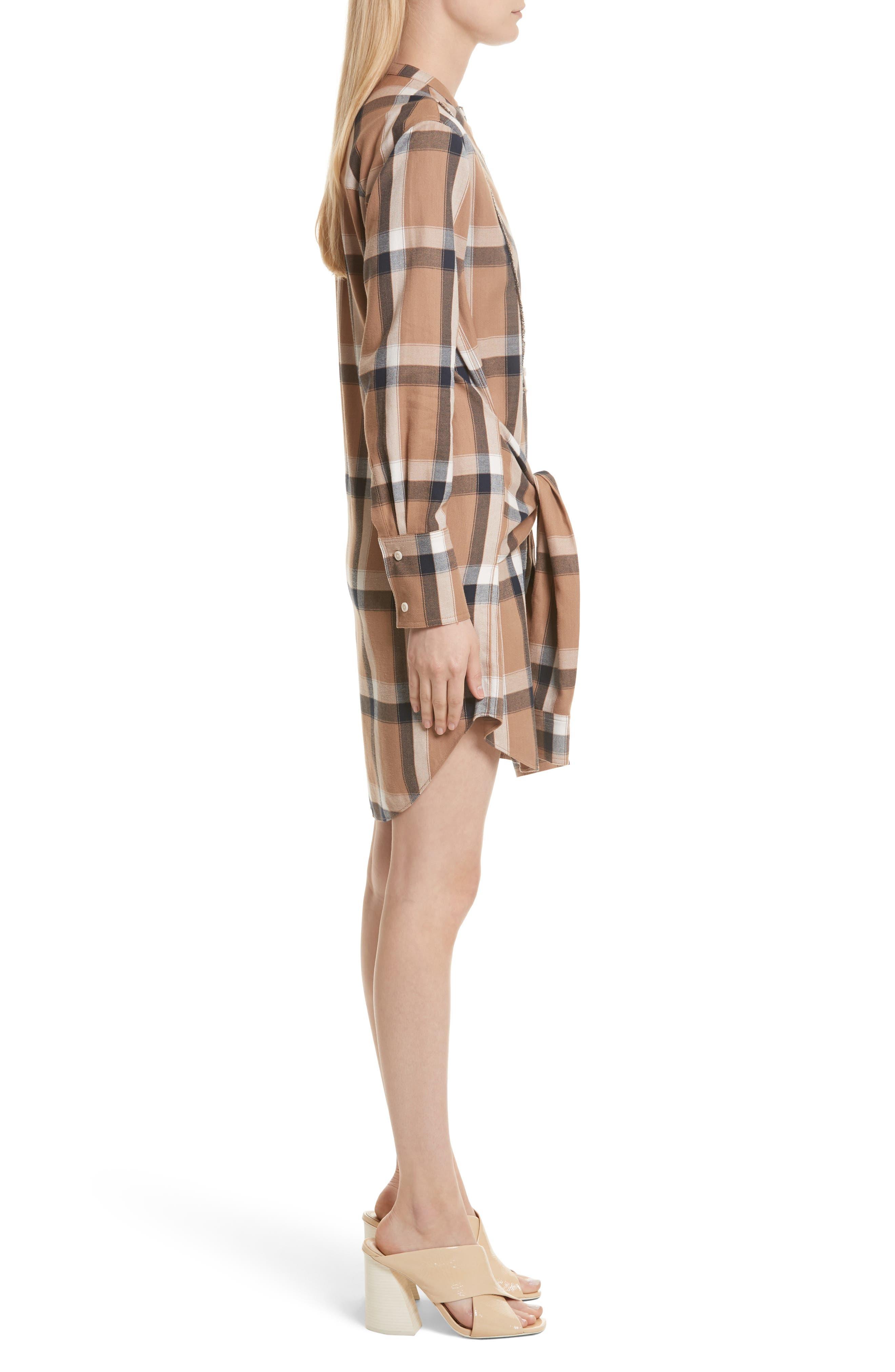 Plaid Tie Waist Dress,                             Alternate thumbnail 3, color,                             200