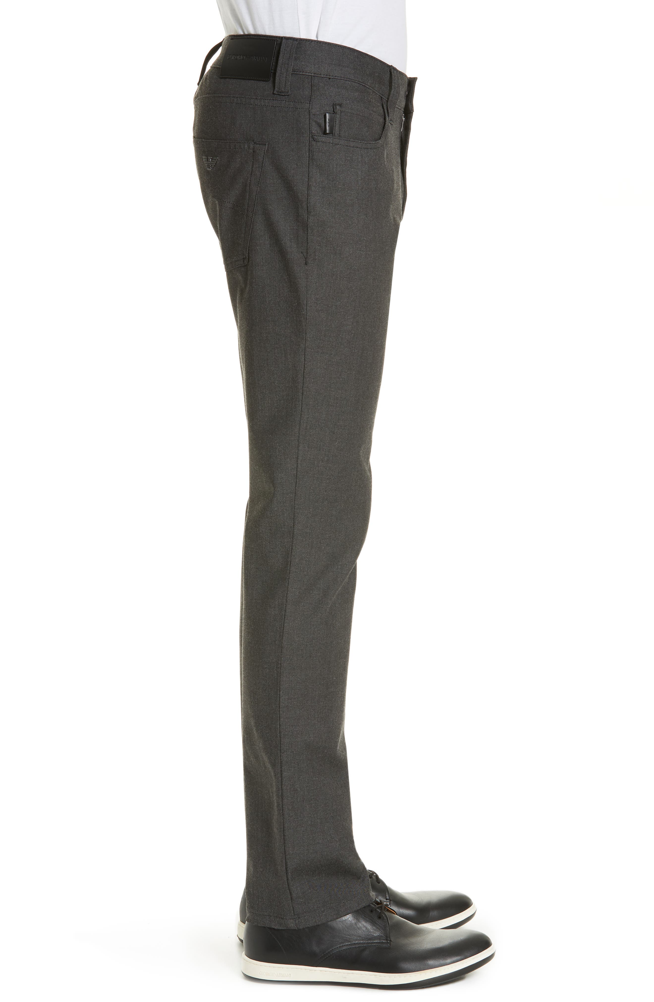 Flat Front Five Pocket Trousers,                             Alternate thumbnail 3, color,                             CHARCOAL