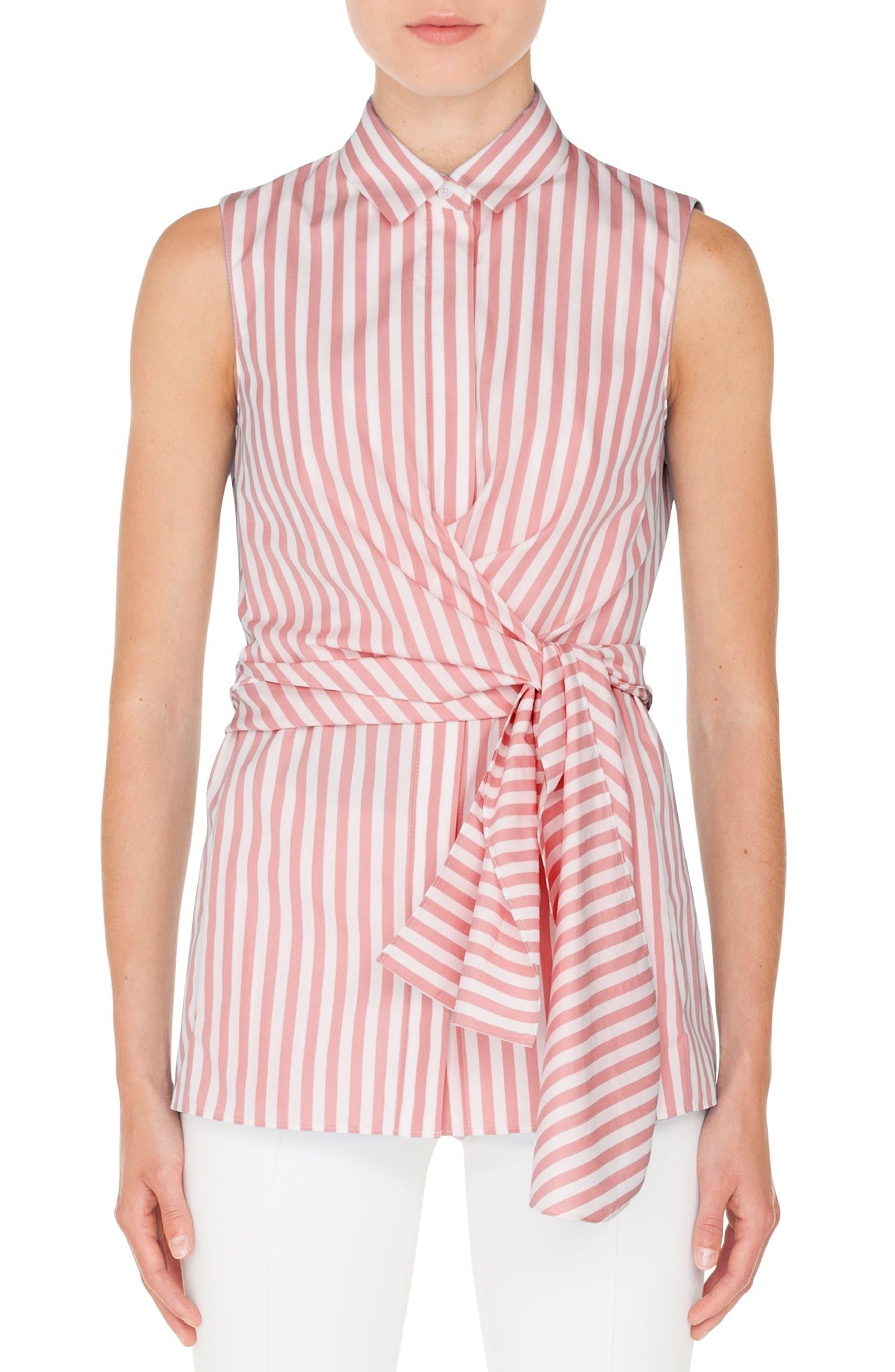 Stripe Cotton Wrap Blouse,                         Main,                         color, PEONY - CREAM
