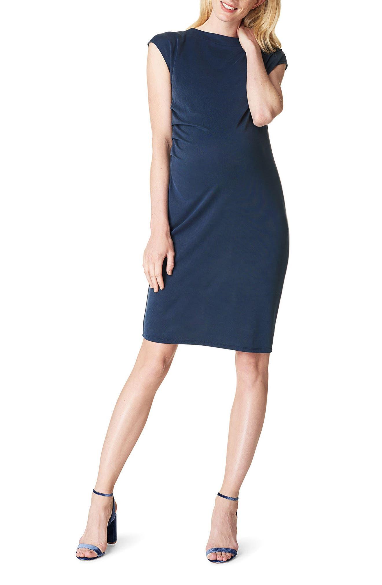 Annefleur Maternity Sheath Dress,                         Main,                         color, NAVY