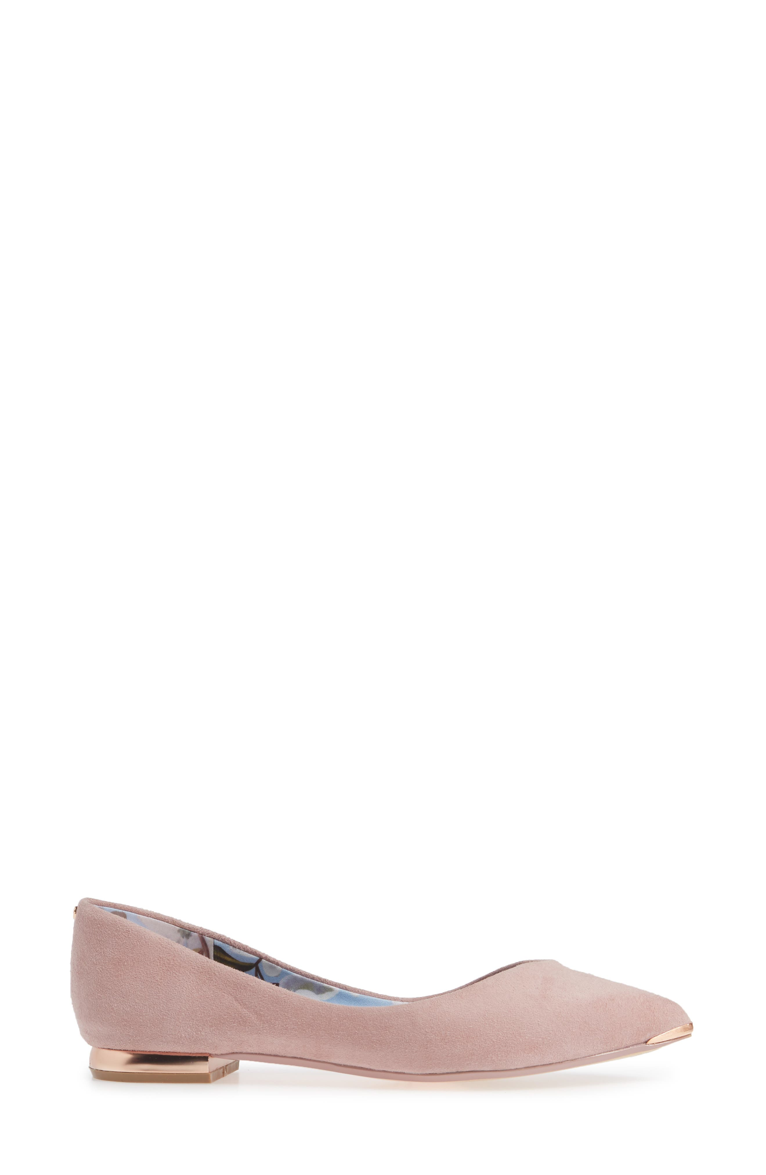 TED BAKER LONDON,                             Mancies Pointy Toe Flat,                             Alternate thumbnail 3, color,                             WINTER ROSE SUEDE