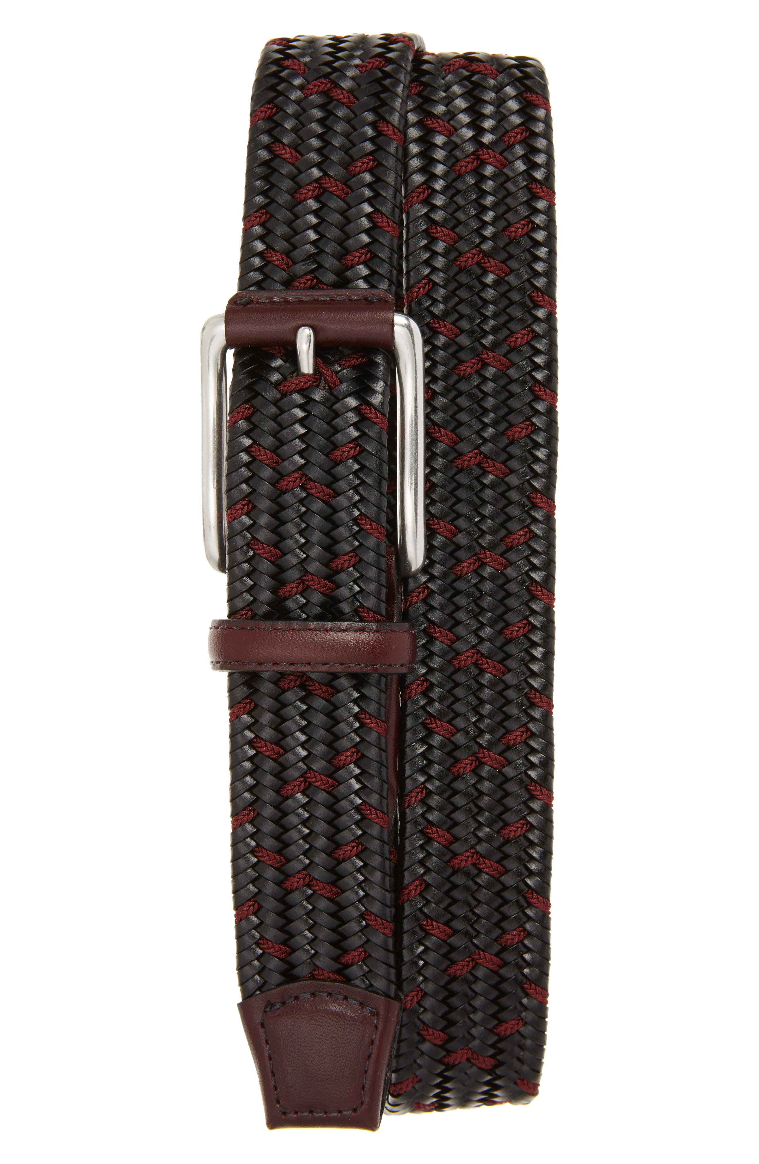 Torino Belts Woven Mixed Media Belt, Black/ Burgundy