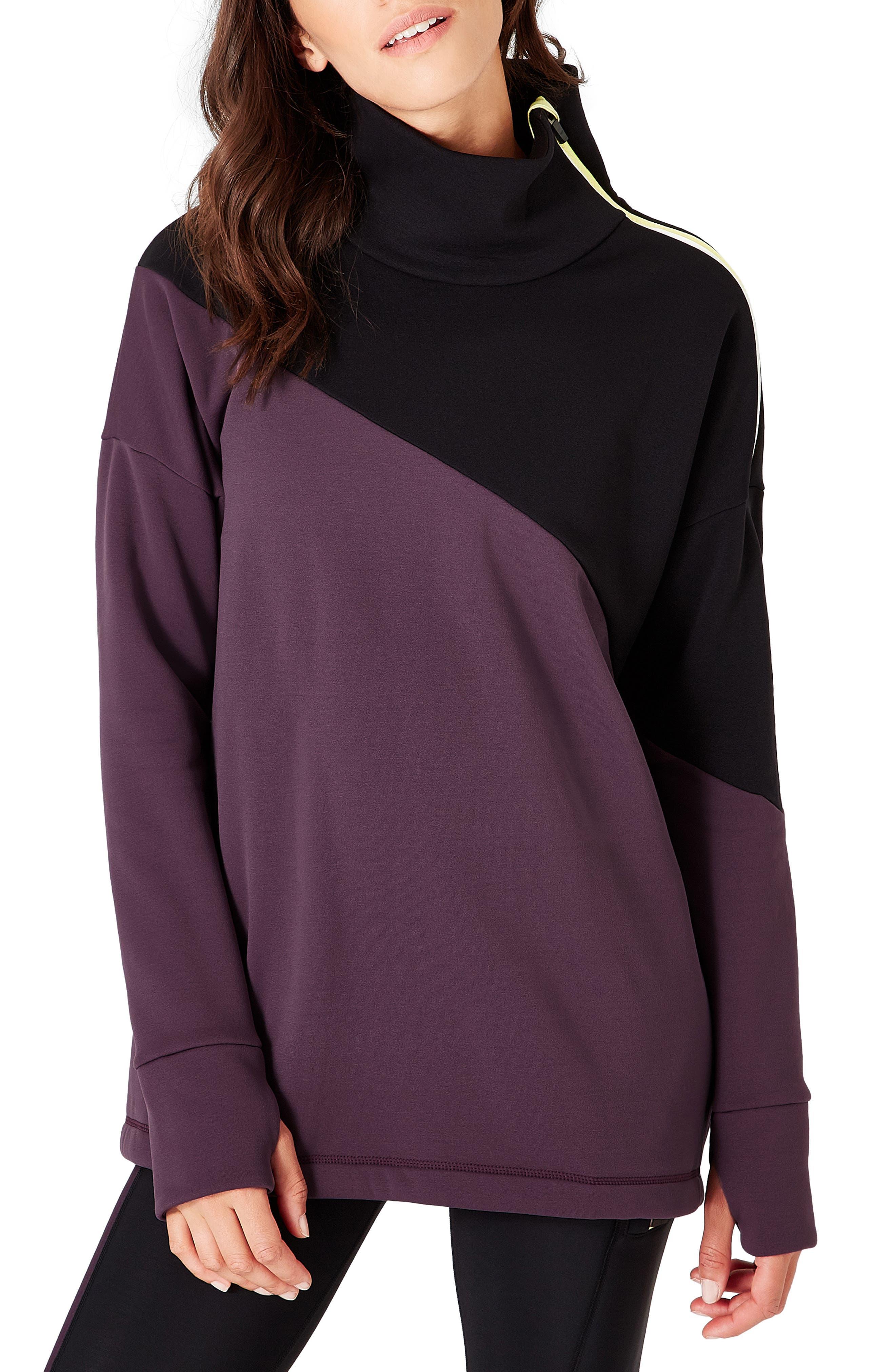 Infield Fleece Pullover, Main, color, AUBERGINE
