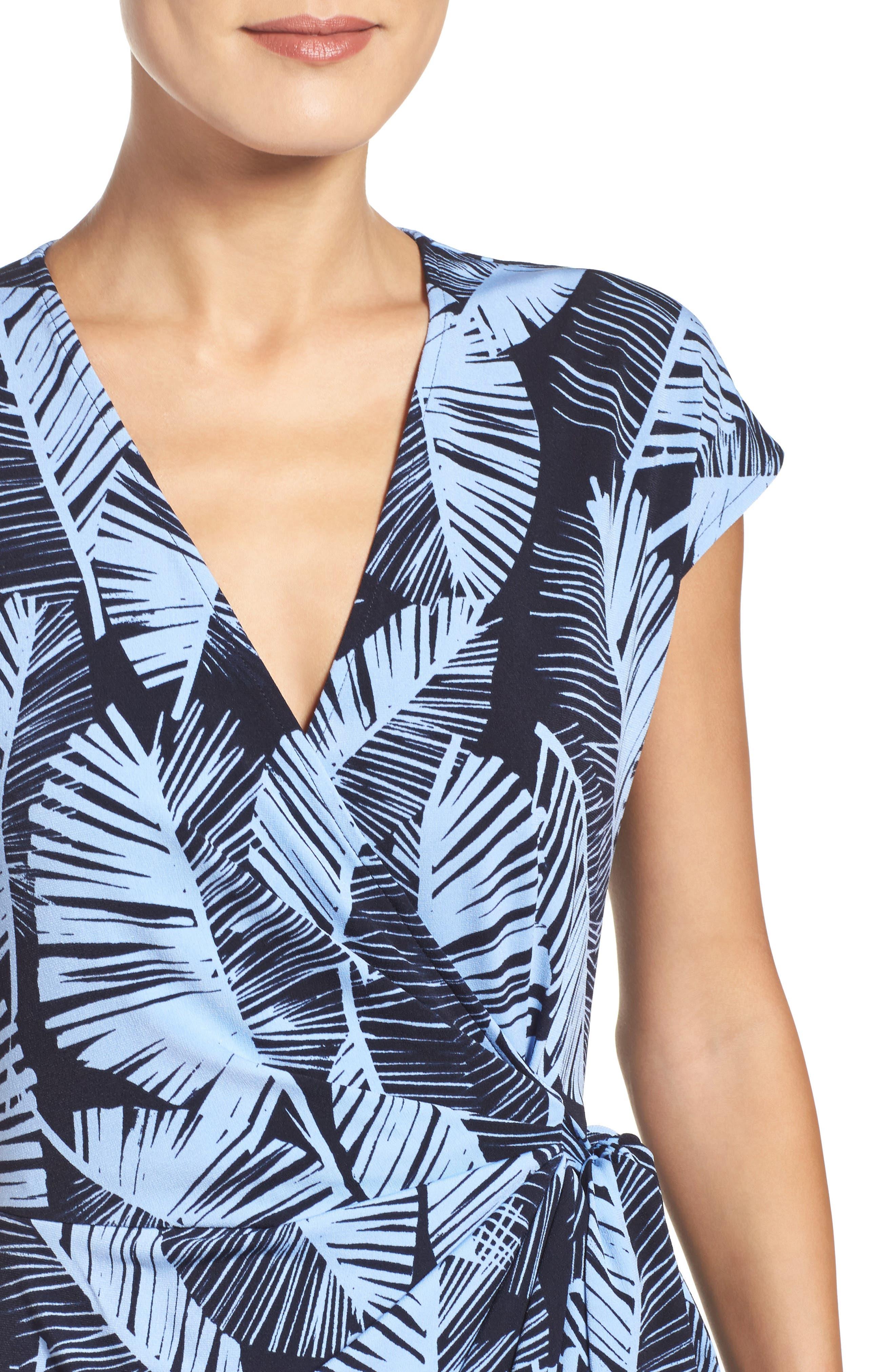 Palm Leaf Wrap Dress,                             Alternate thumbnail 4, color,                             420