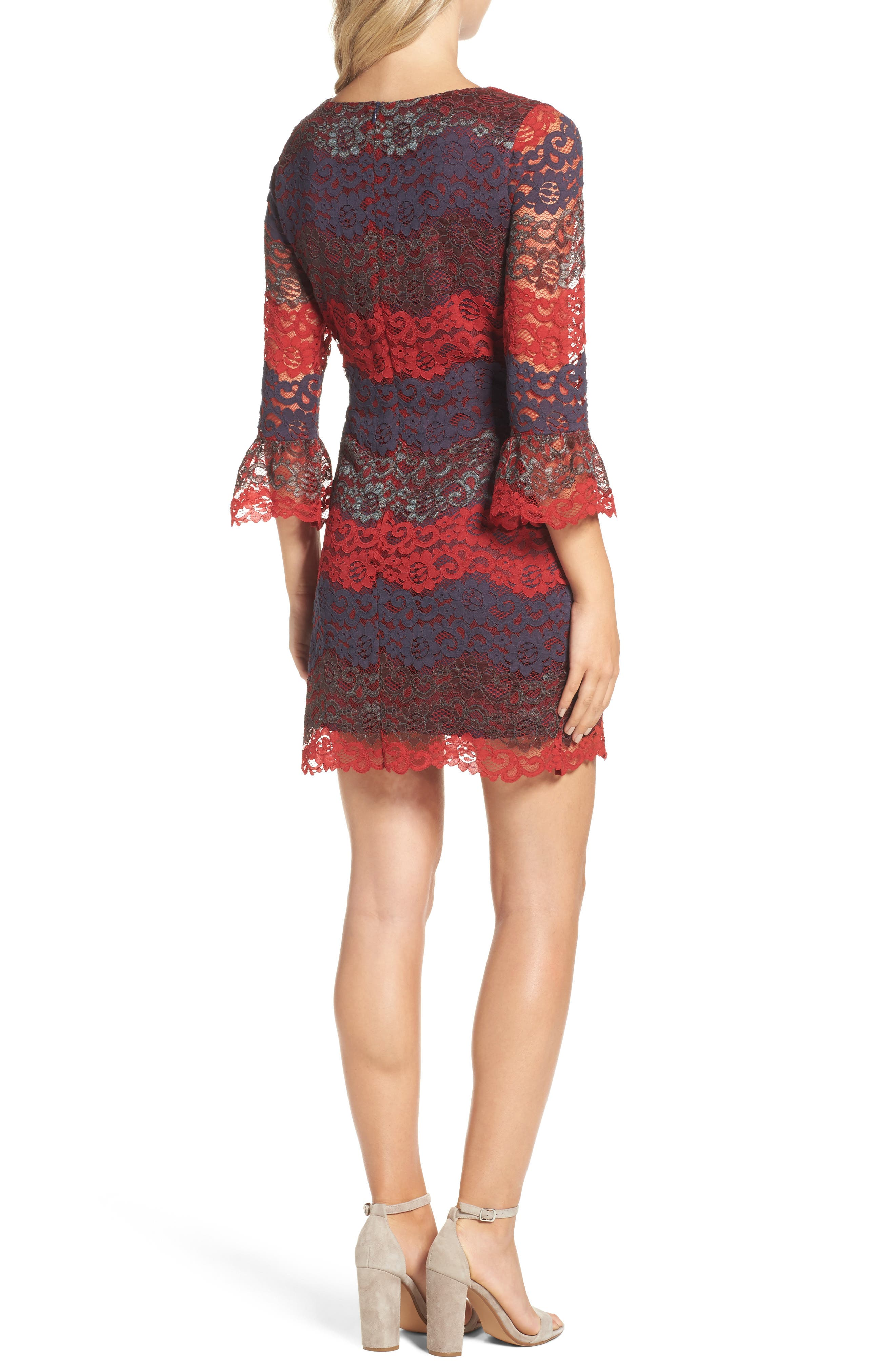 Lace Bell Sleeve Dress,                             Alternate thumbnail 7, color,