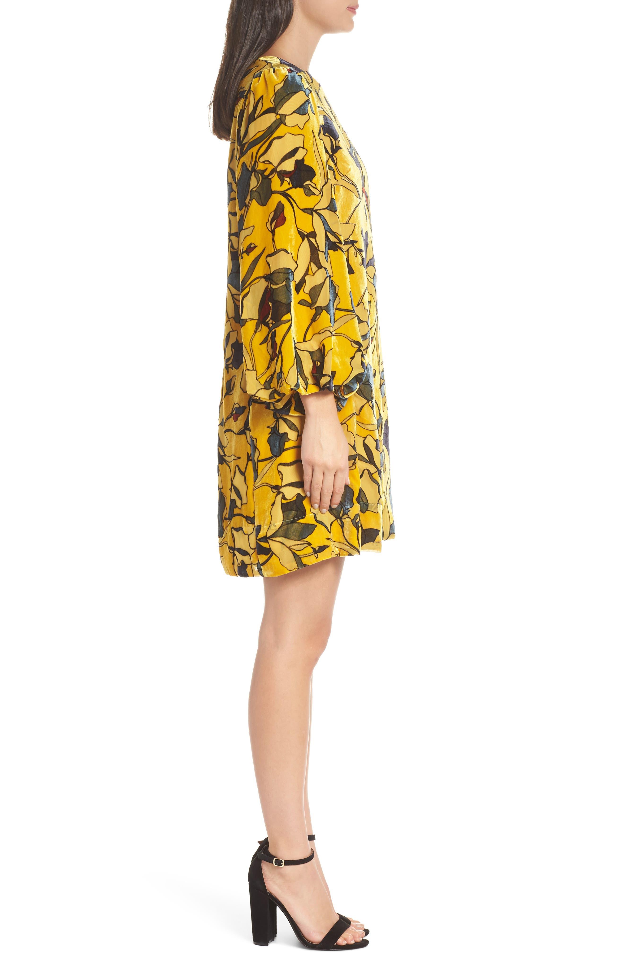 Aventine Velvet Tunic Dress,                             Alternate thumbnail 3, color,                             CALLUNA YELLOW