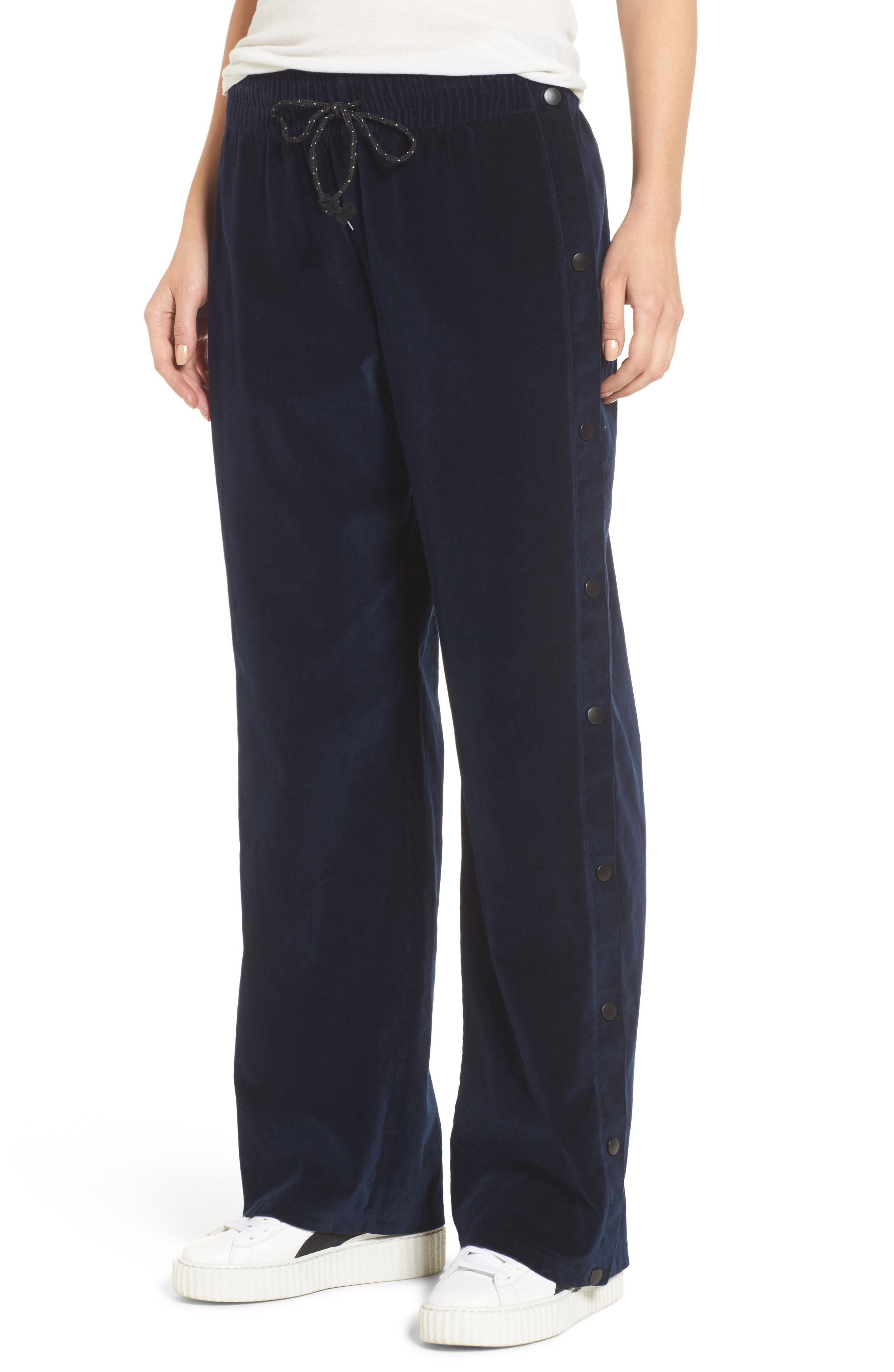 Aria Velvet Track Pants,                         Main,                         color, DARK OBSIDIAN
