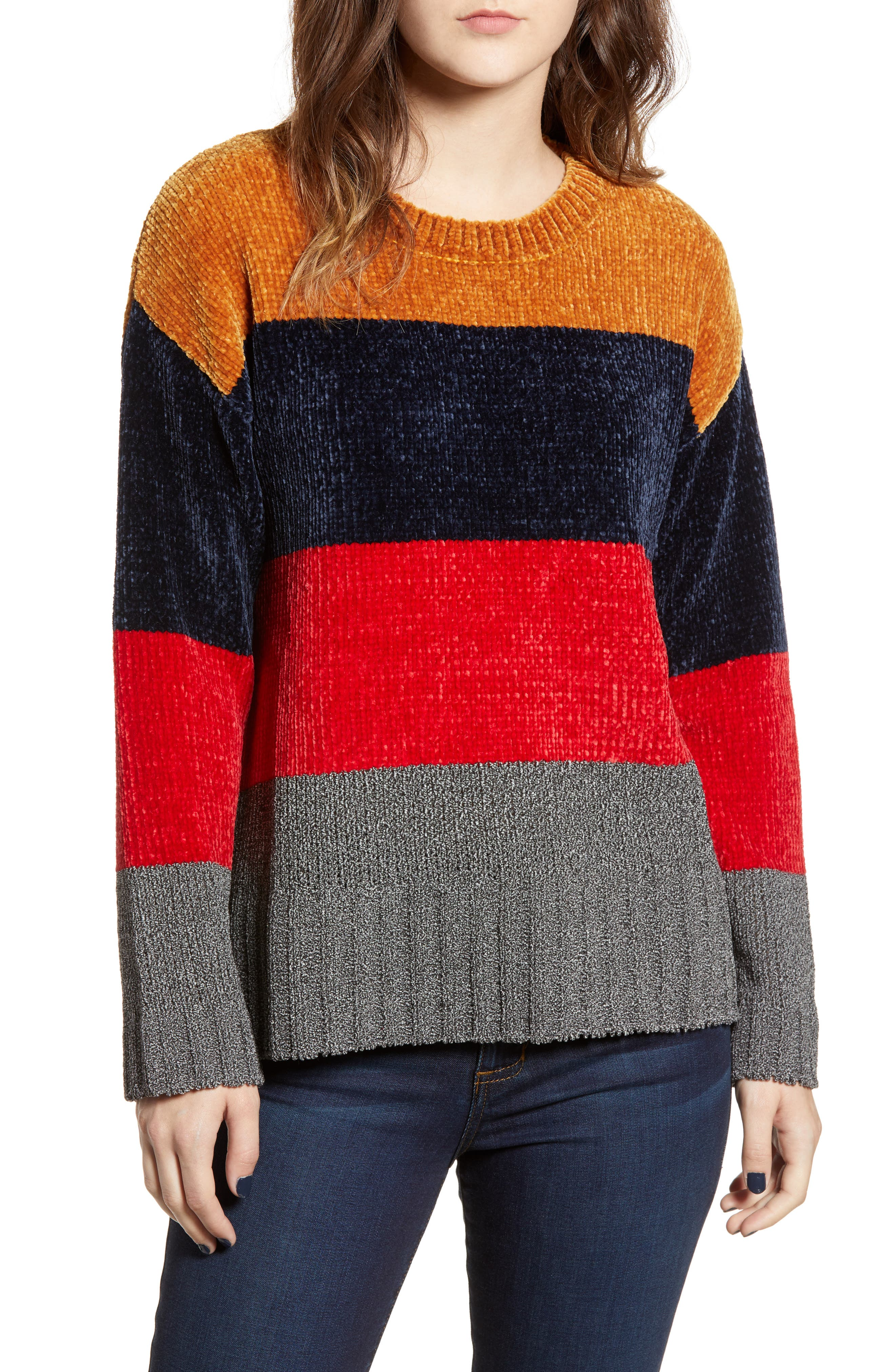 Stripe Chenille Sweater,                             Main thumbnail 1, color,                             710