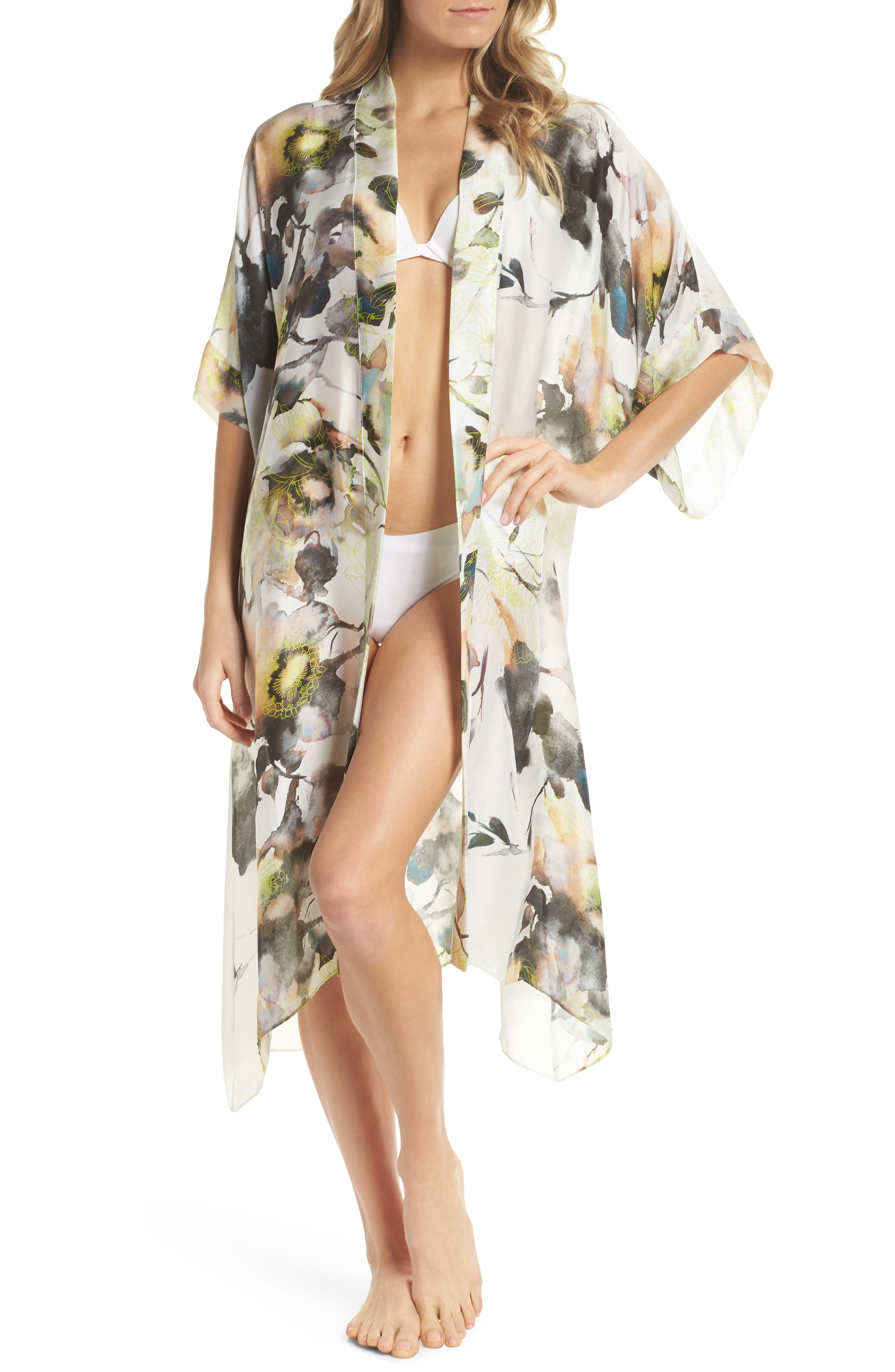 Floral Print Silk Robe,                             Main thumbnail 1, color,                             LIMELIGHT PRINT