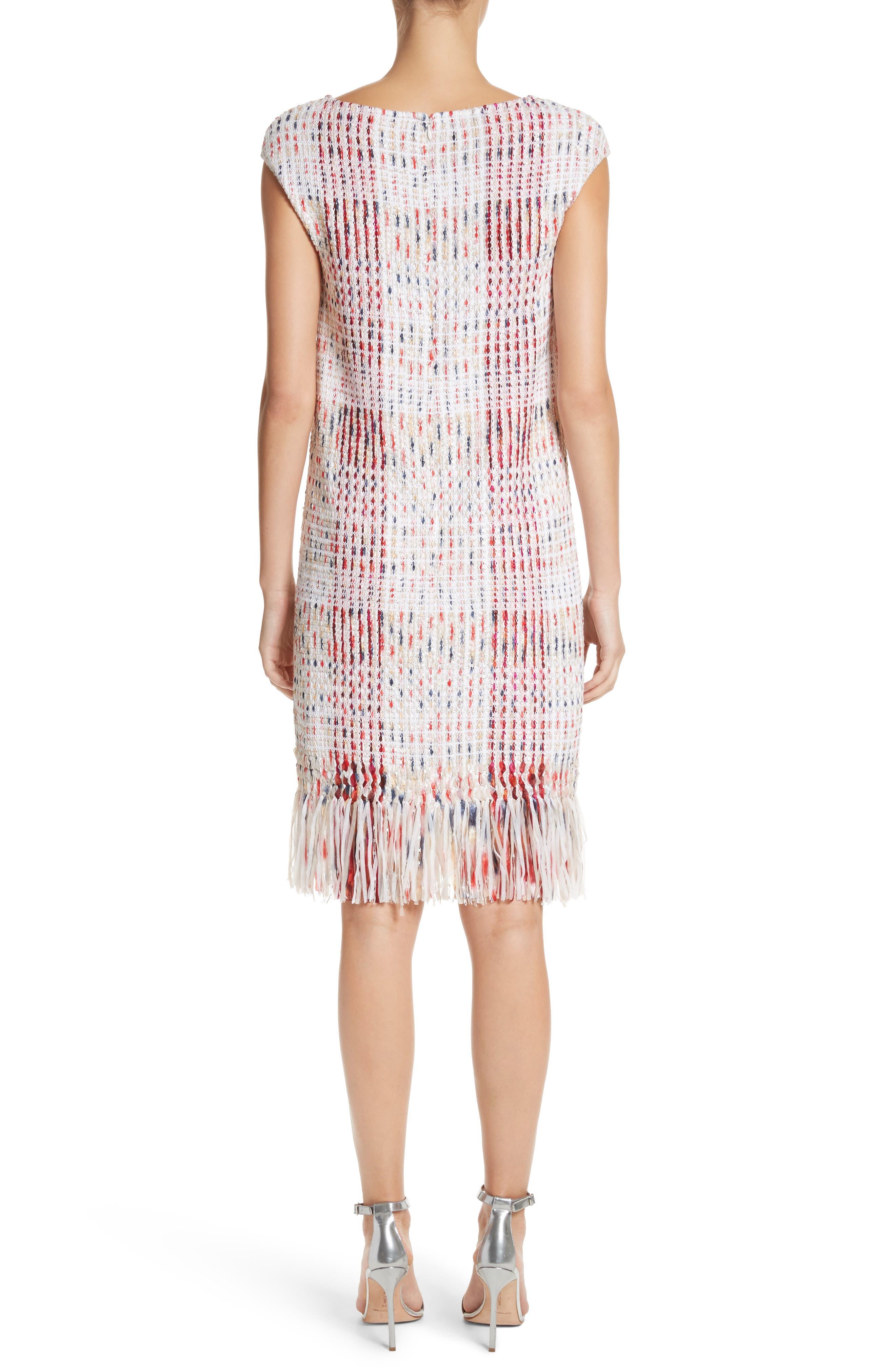 Ribbon Macro Plaid Knit Dress,                             Alternate thumbnail 2, color,                             660