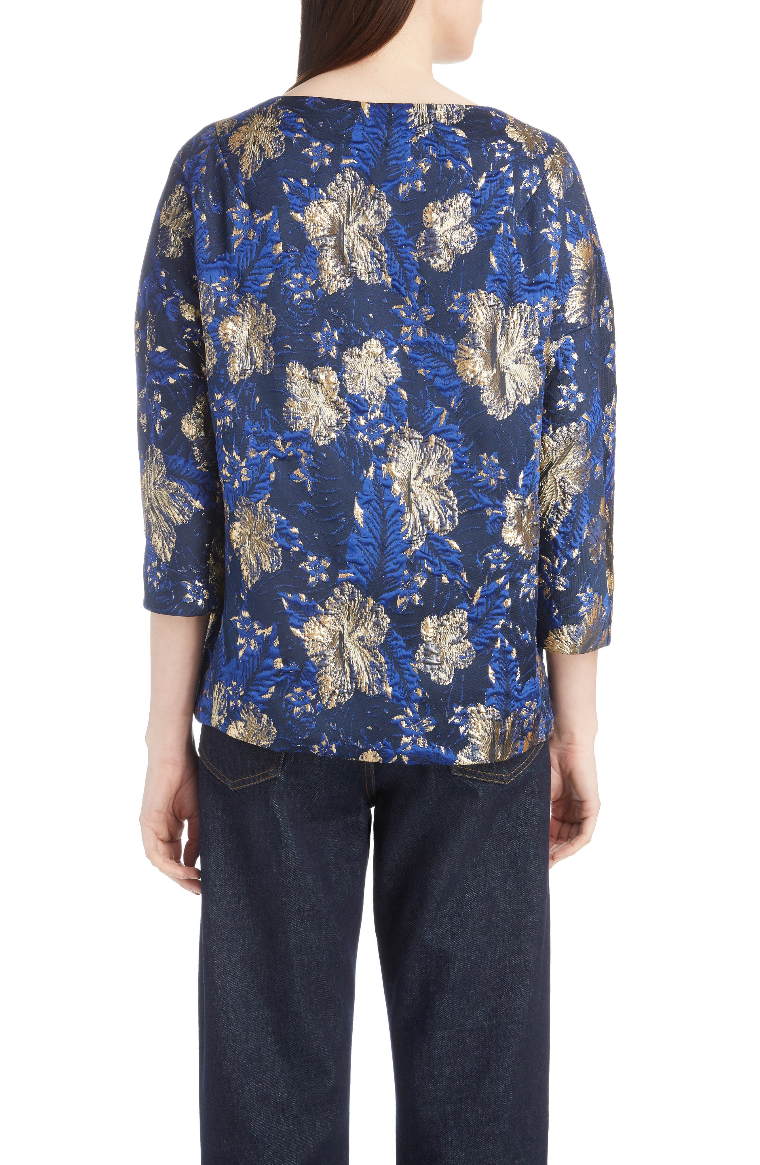 Metallic Floral Jacquard Top,                             Alternate thumbnail 2, color,                             BLUE