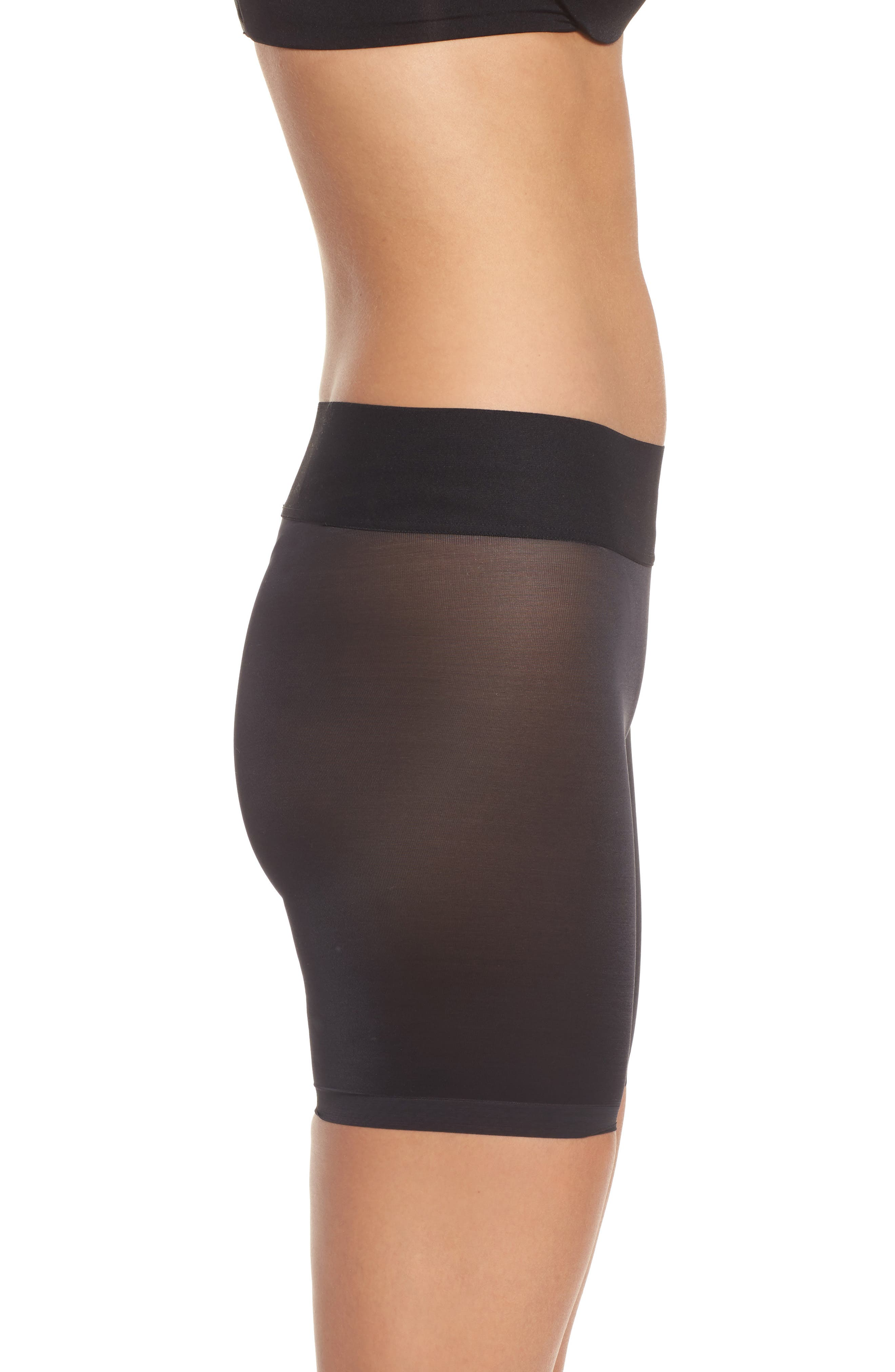Sheer Touch Control Shorts,                             Alternate thumbnail 3, color,                             BLACK
