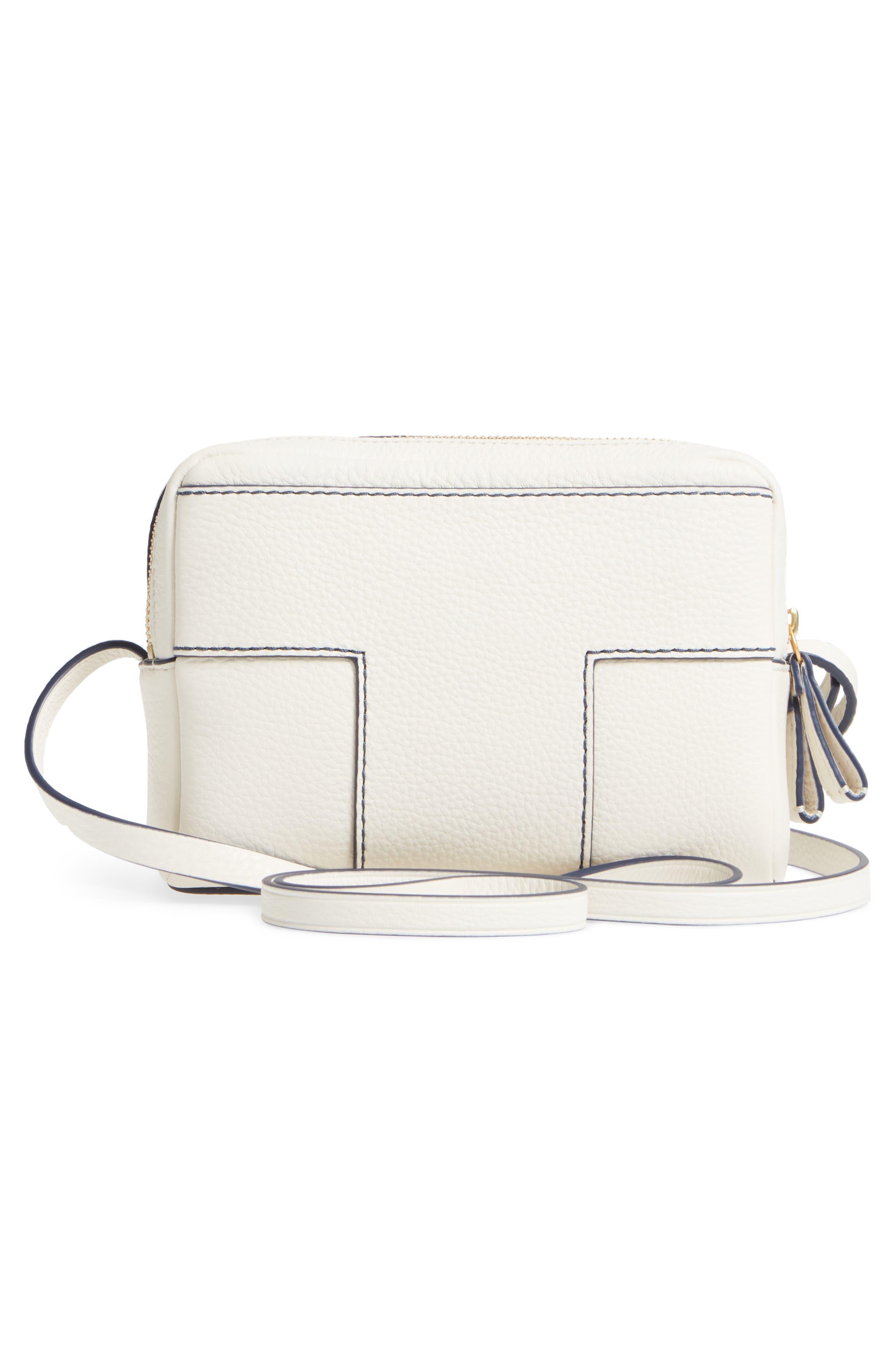 Block-T Double Zip Leather Crossbody Bag,                             Alternate thumbnail 3, color,                             100