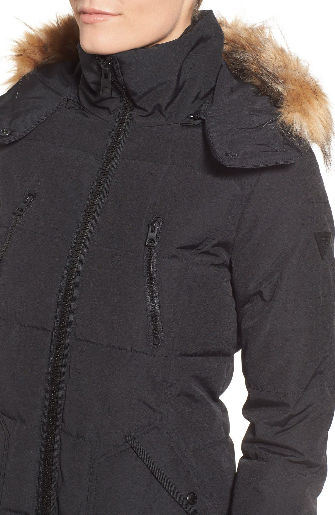 'Expedition' Quilted Parka with Faux Fur Trim,                             Alternate thumbnail 17, color,