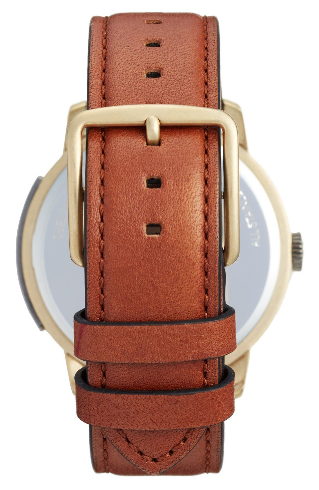'Bleeker' Leather Strap Watch, 46mm,                             Alternate thumbnail 8, color,