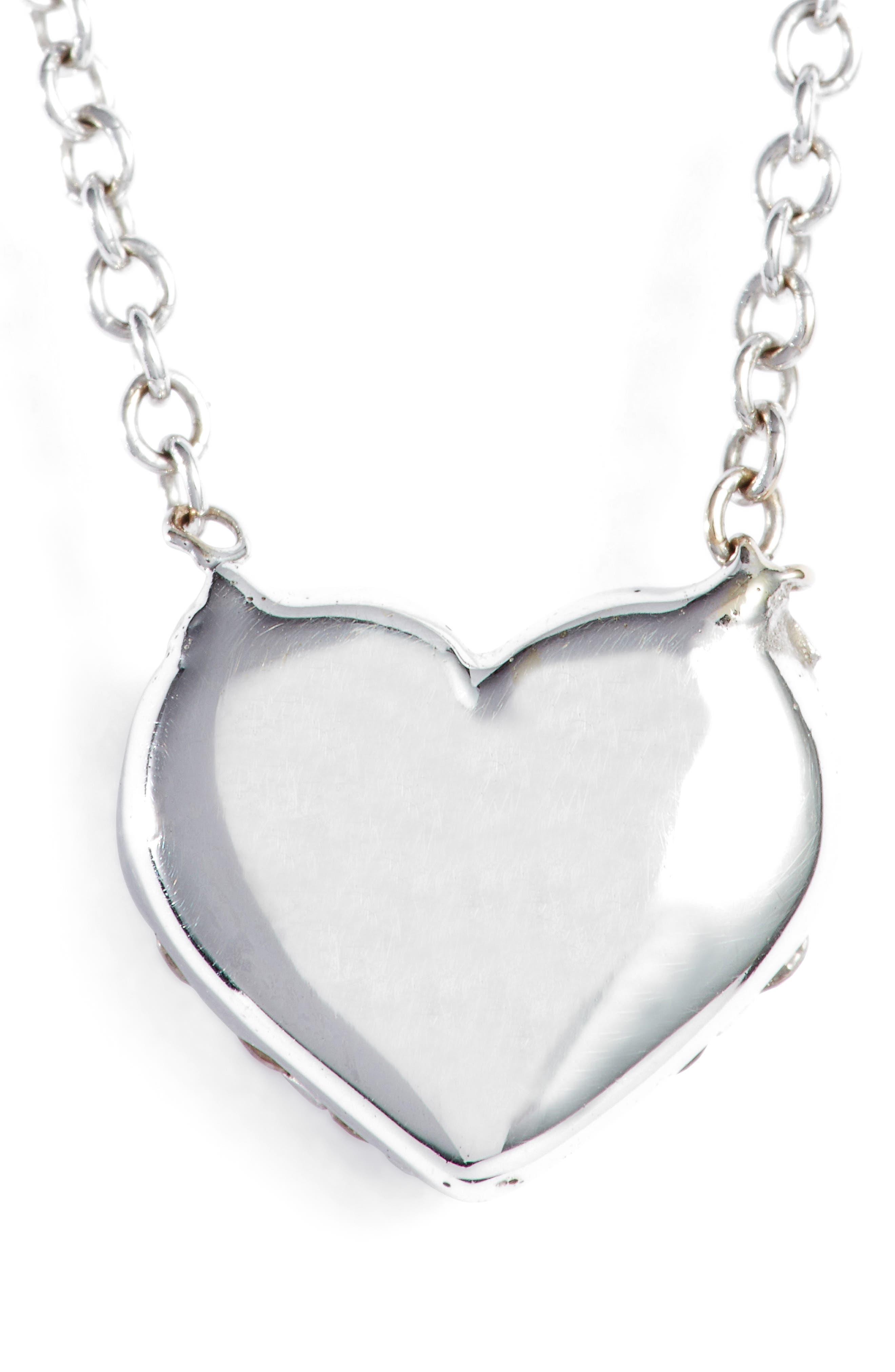 Diamond Pavé Heart Pendant Necklace,                             Alternate thumbnail 5, color,                             WHITE GOLD