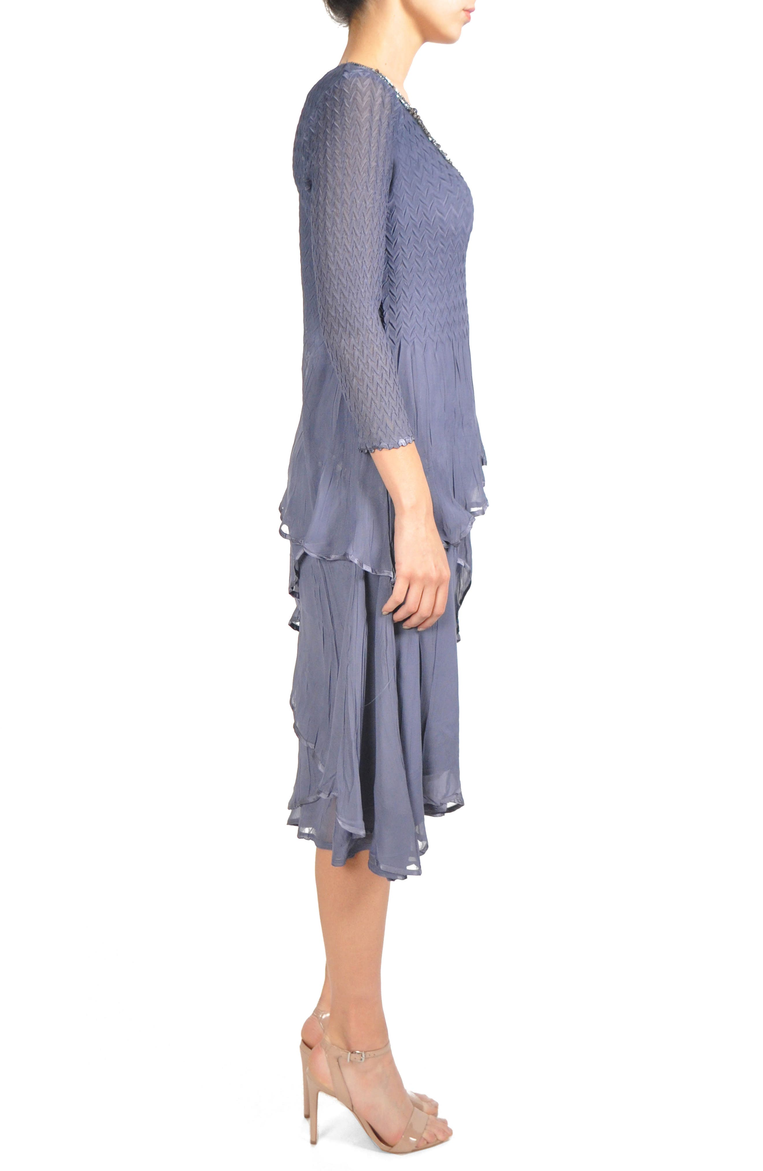 Tiered Chiffon A-Line Dress,                             Alternate thumbnail 4, color,