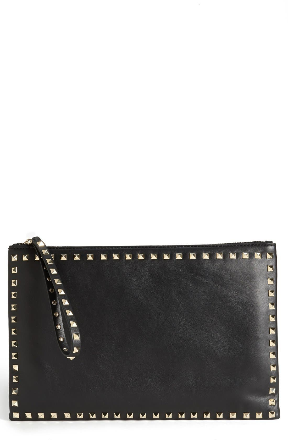 VALENTINO,                             'Rockstud - Flat' Nappa Leather Clutch,                             Main thumbnail 1, color,                             001