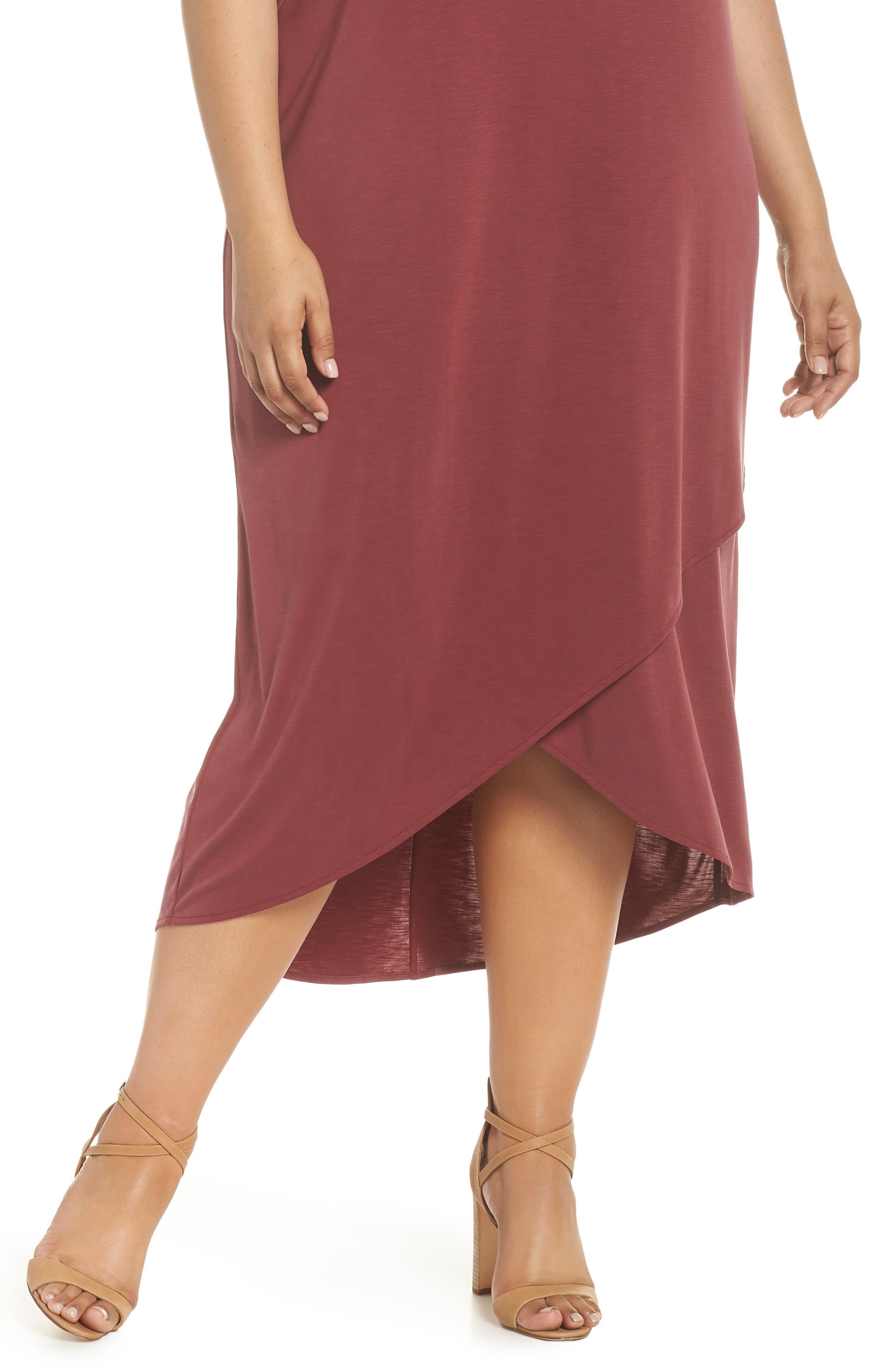 Boardwalk Jersey High/Low Dress,                             Alternate thumbnail 4, color,                             WASHED RAISIN